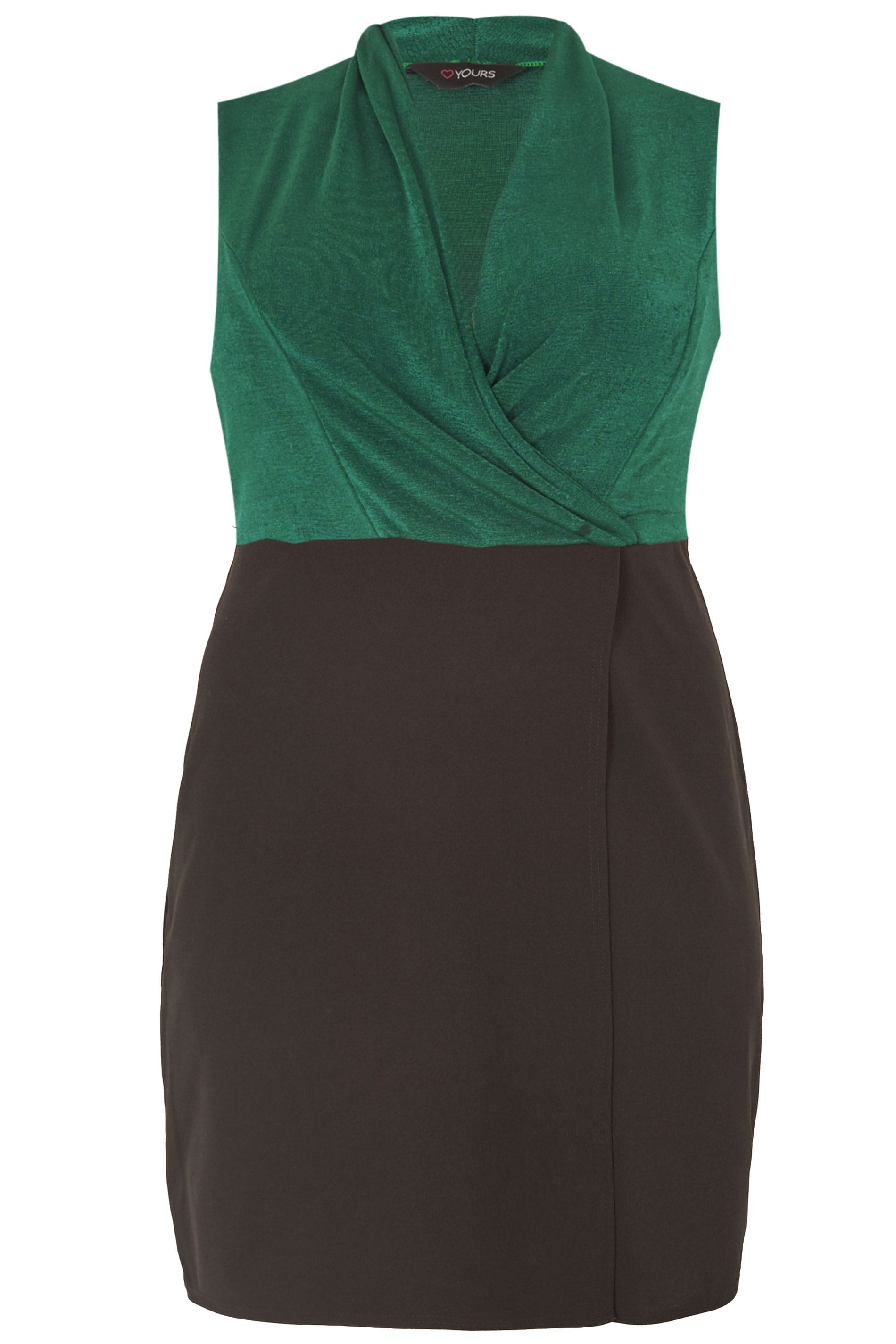 99f7317789a Plus Size Black   Green Wrap Bodycon Dress