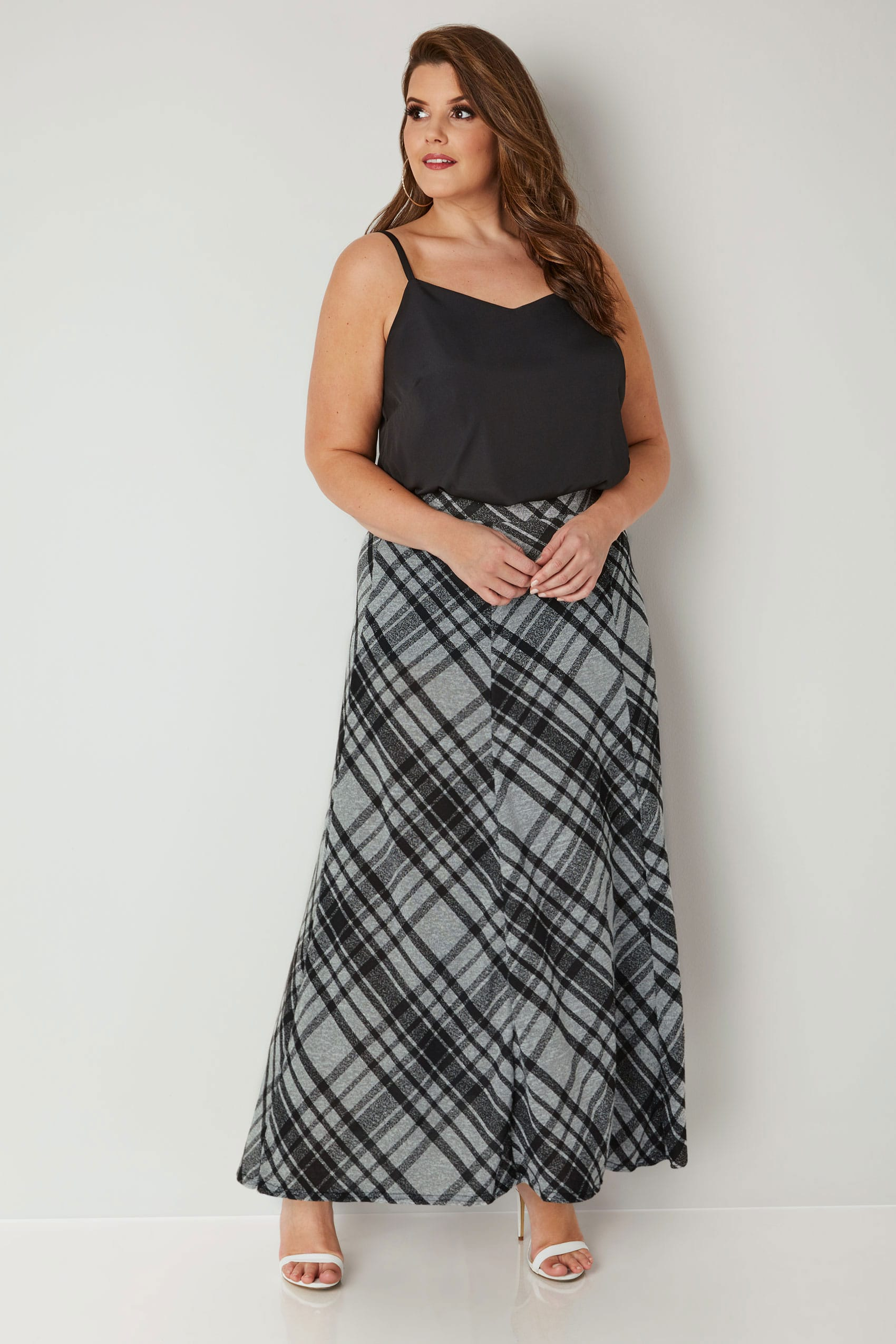 07e164756a Black & Grey Checked Maxi Skirt, Plus size 16 to 36