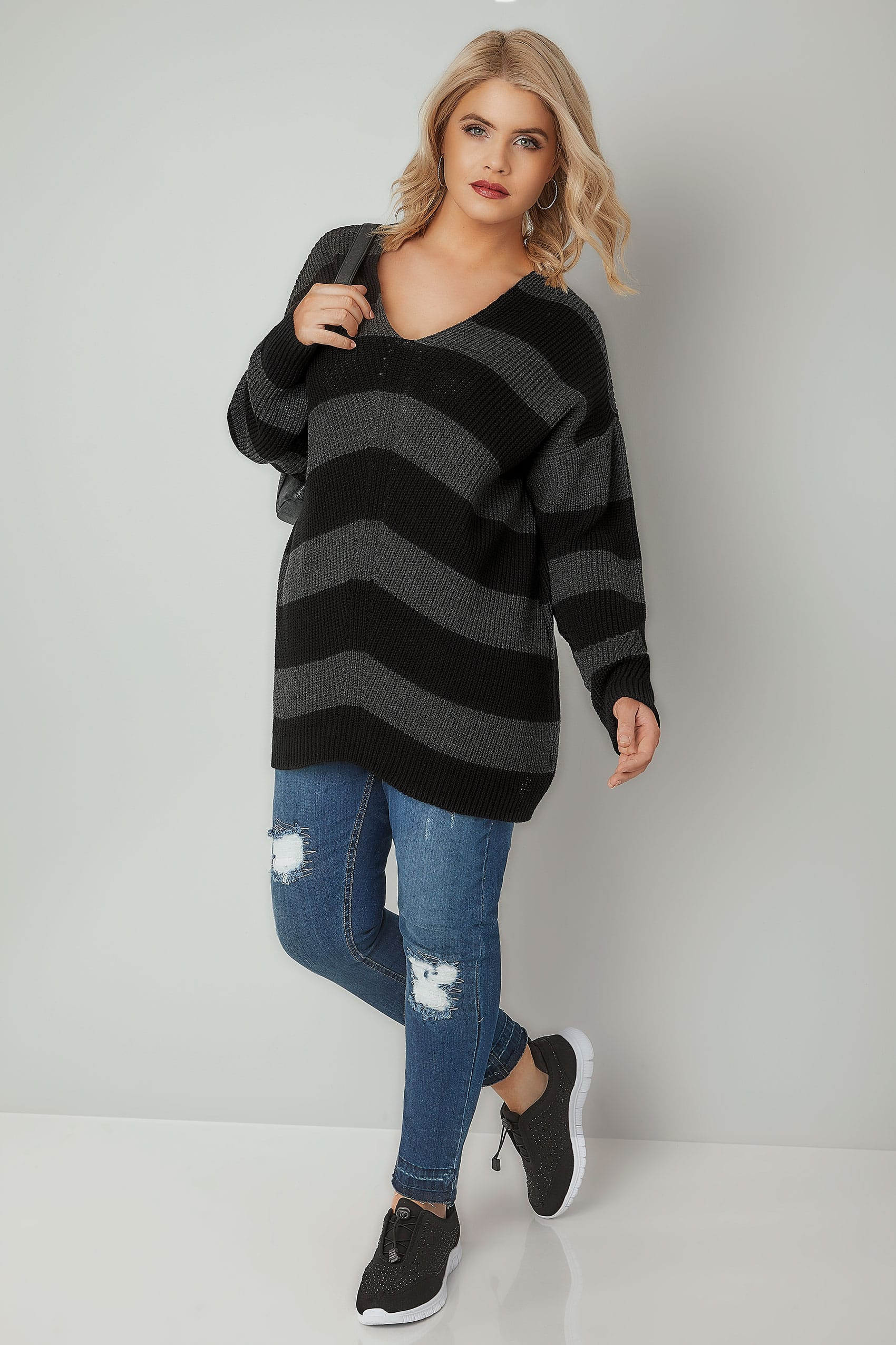 Black Amp Grey Chevron Striped Longline Jumper With Curved