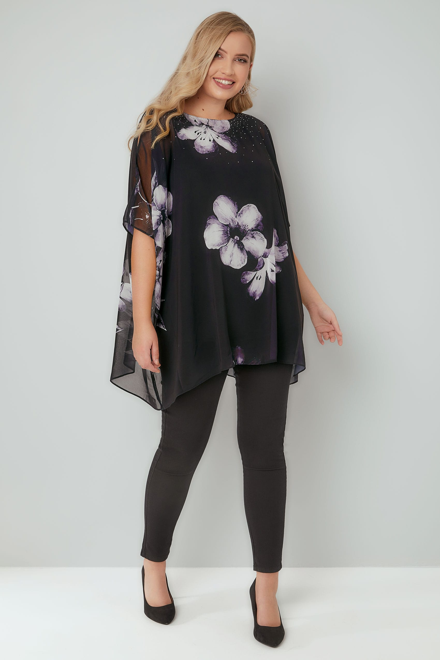Black  Grey Floral Print Cape Style Top With Split -2970