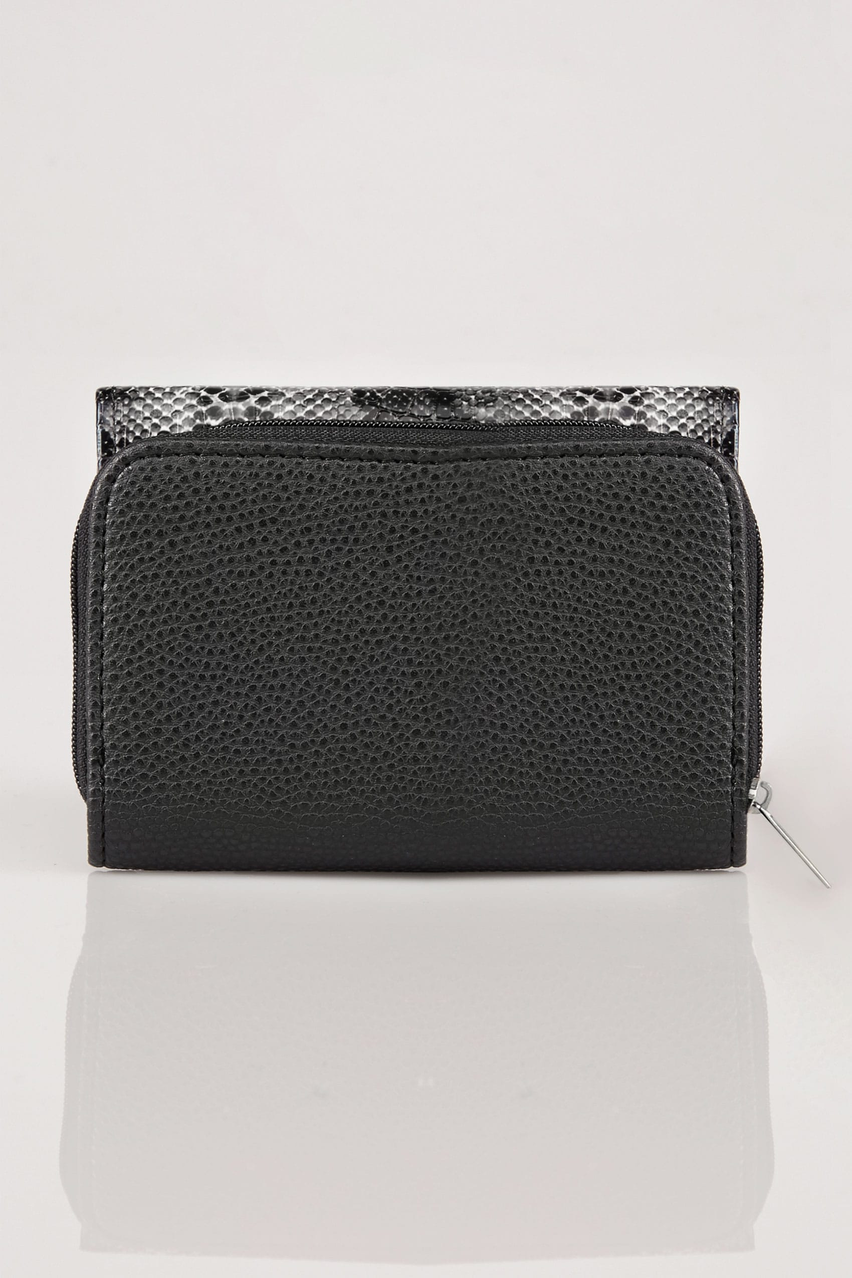 Black grey snakeskin effect pu zip around purse with for Buy here pay later