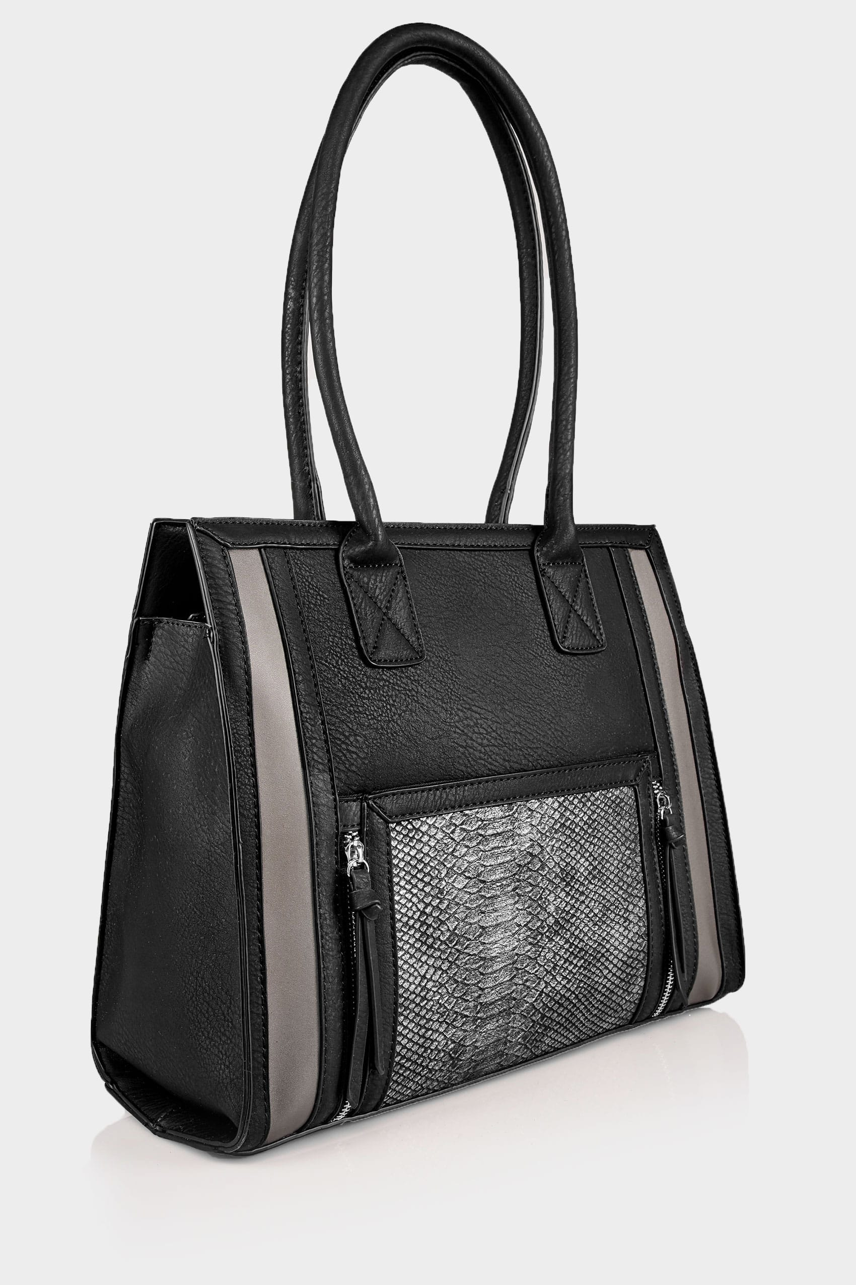 Black   Grey Snakeskin Effect Panelled Shopper Bag With Zip Details ... 8eec876e9