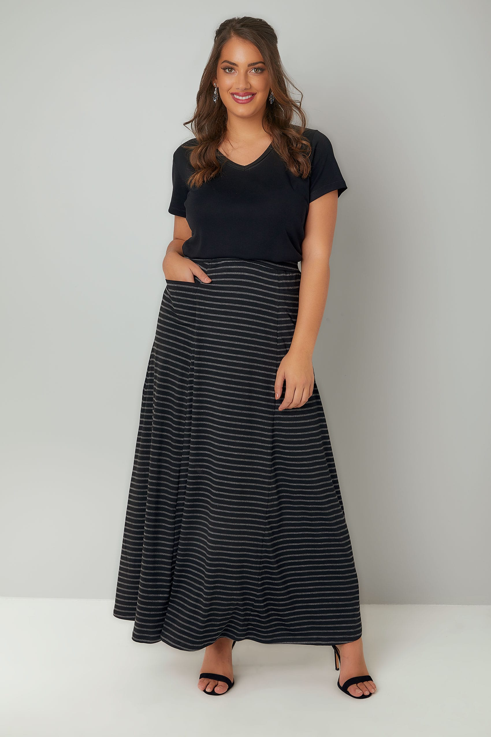 Ladies Womens Grey Side Stripe Jersey Maxi Skirt Causal Wear Sizes 8-20