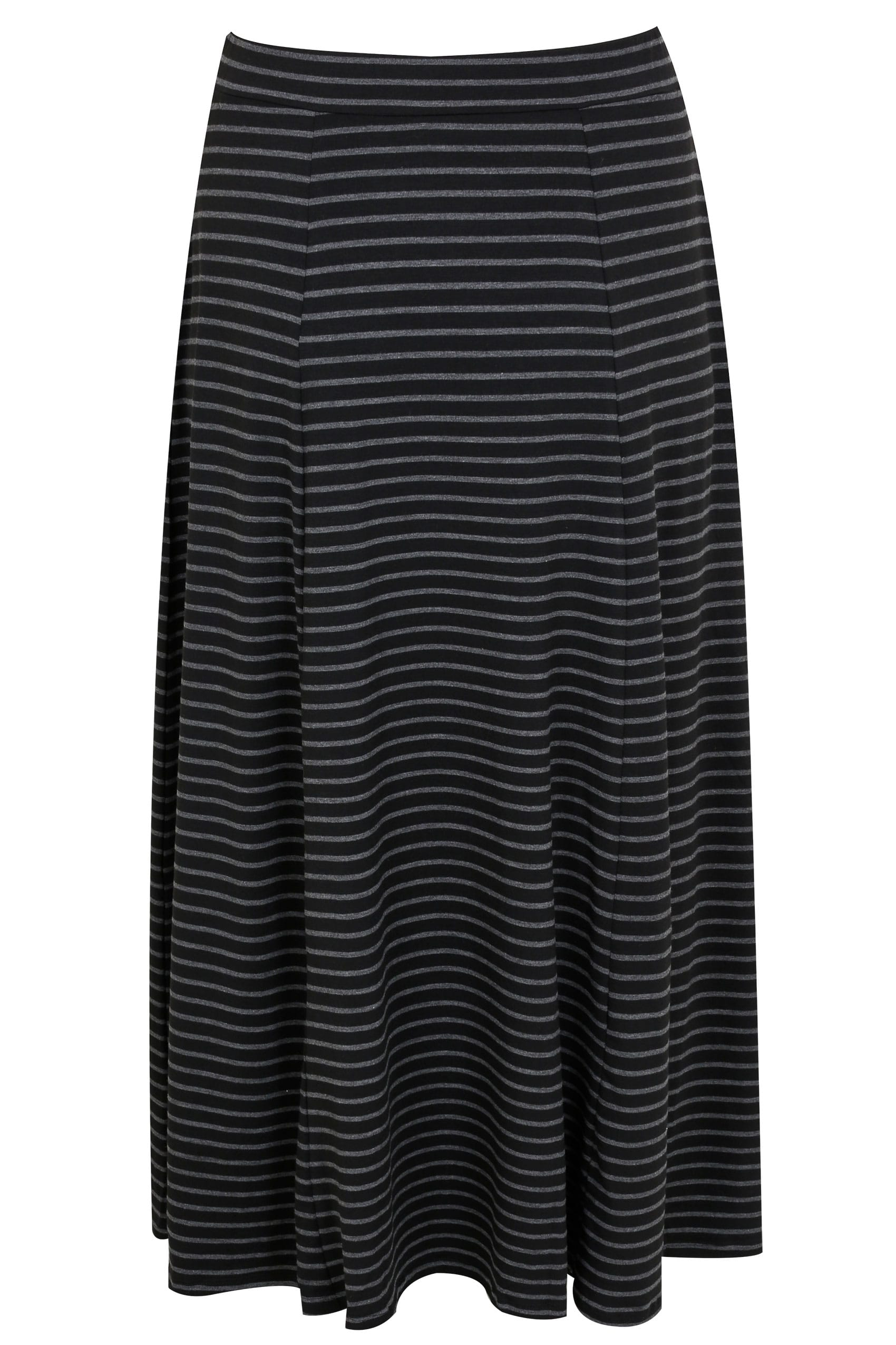 88df063d42 Black & Grey Stripe Maxi Skirt With Pockets, Plus size 16 to 36