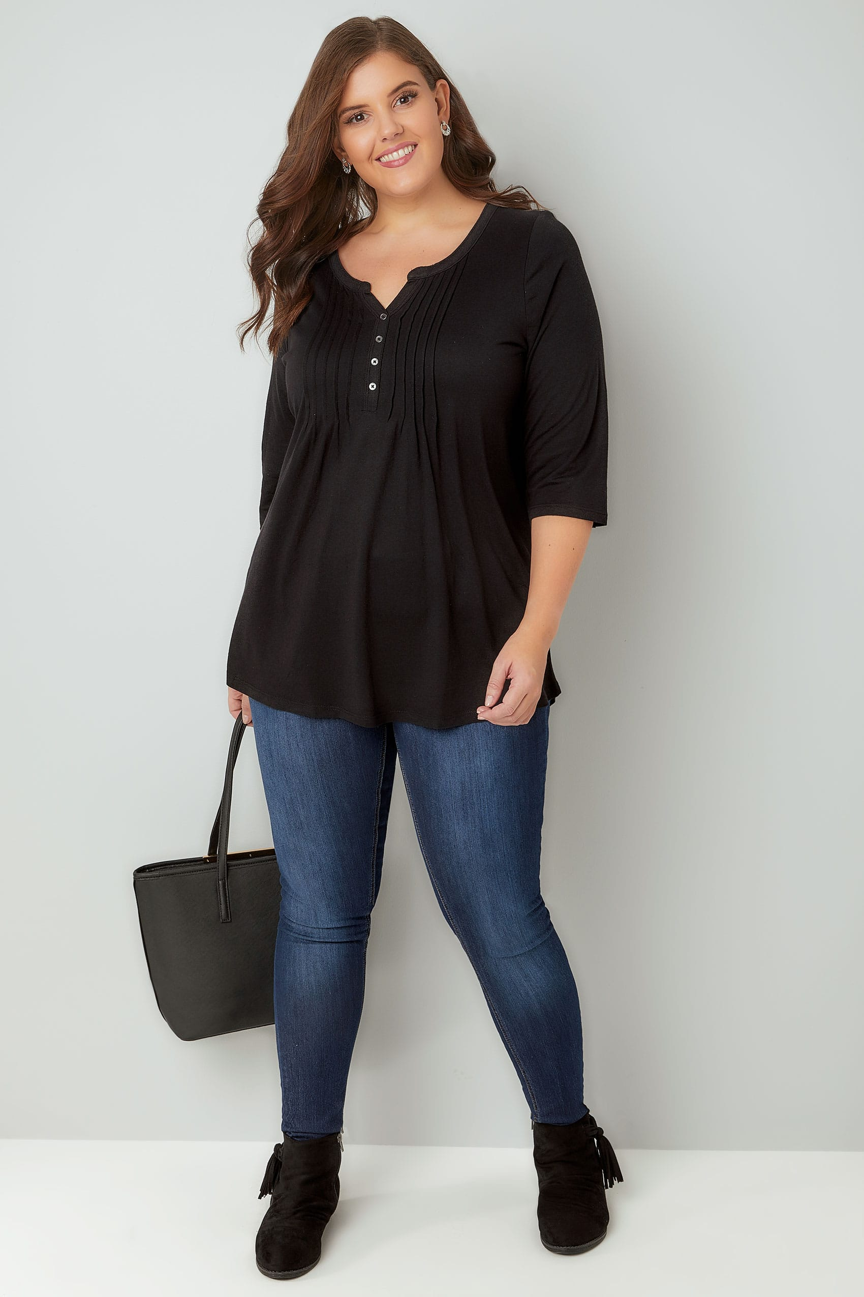 Black pin tuck jersey top with 3 4 sleeves plus size 16 to 36 for Tucked in shirt plus size
