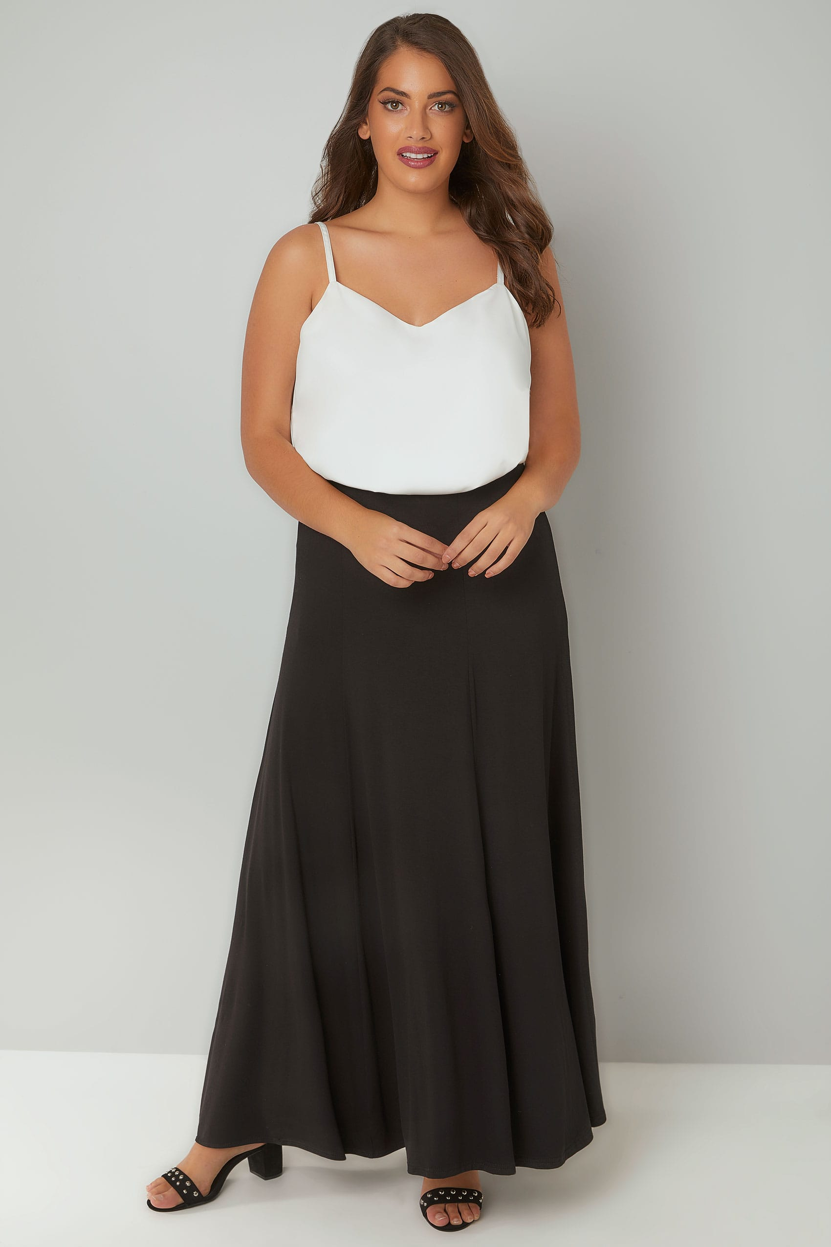 Black Jersey Maxi Skirt, Plus size 16 to 36