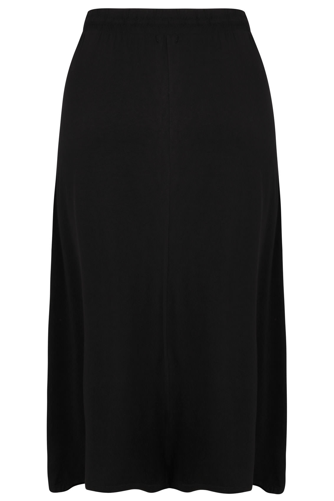 black jersey maxi skirt with elasticated draw string waist
