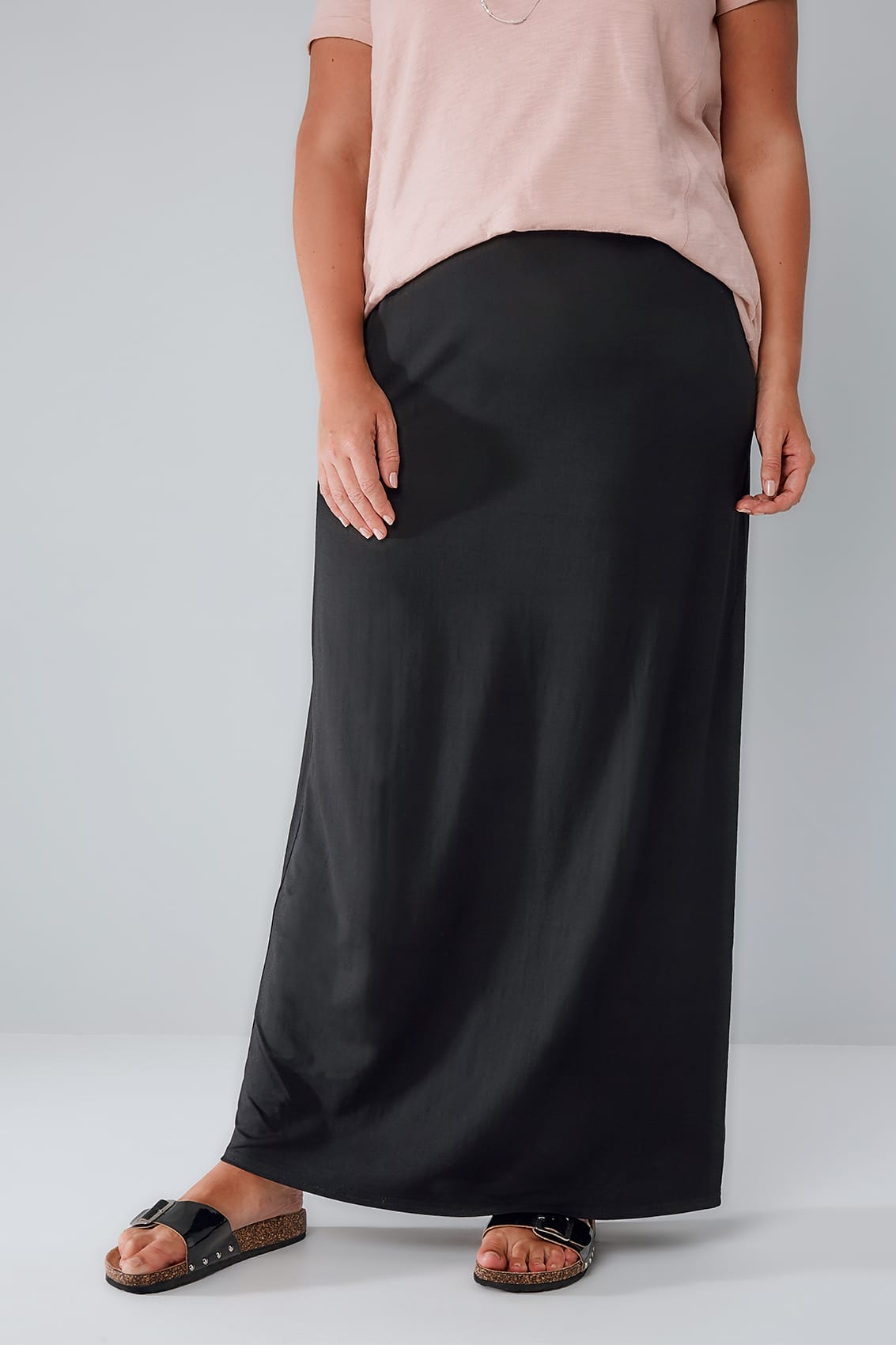 Black Jersey Maxi Tube Skirt With Elasticated Waistband plus size ...