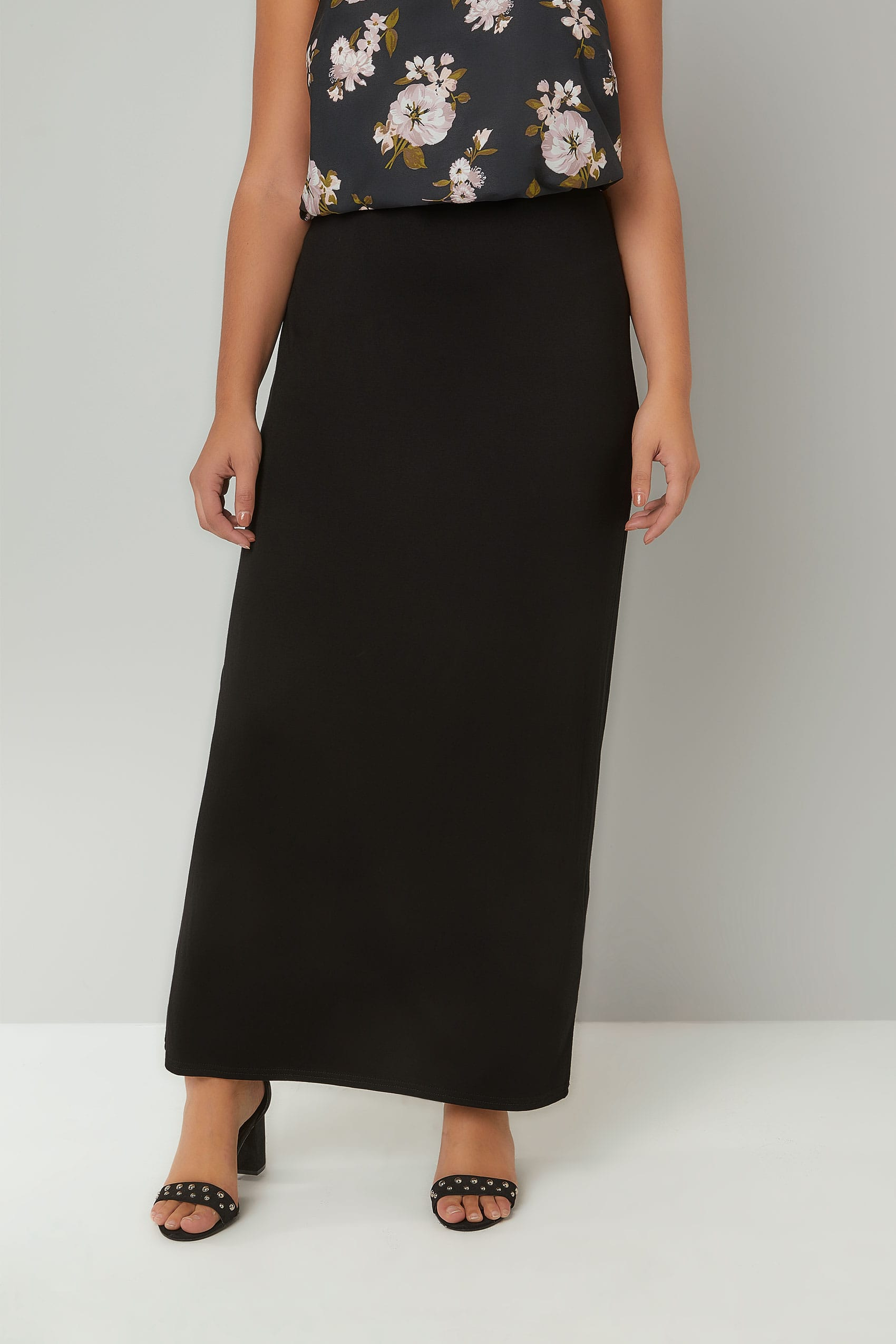 acda7b9e1e58 Plus Size Maxi Skirts Black Jersey Maxi Tube Skirt