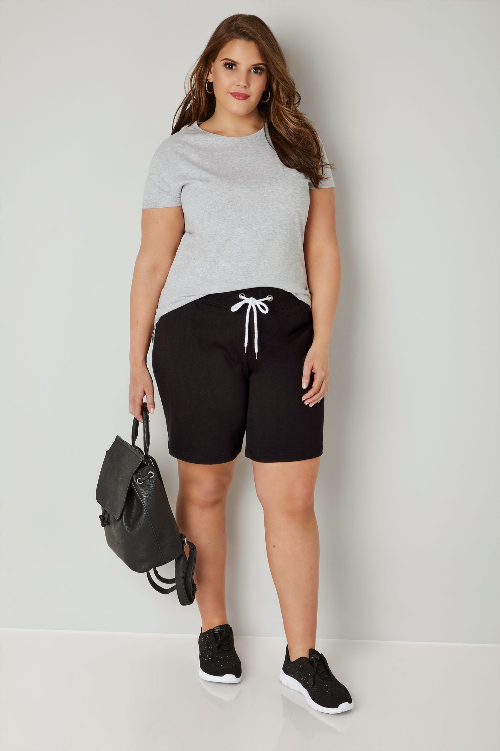 Black Jersey Shorts With Elasticated Waistband, plus size ...