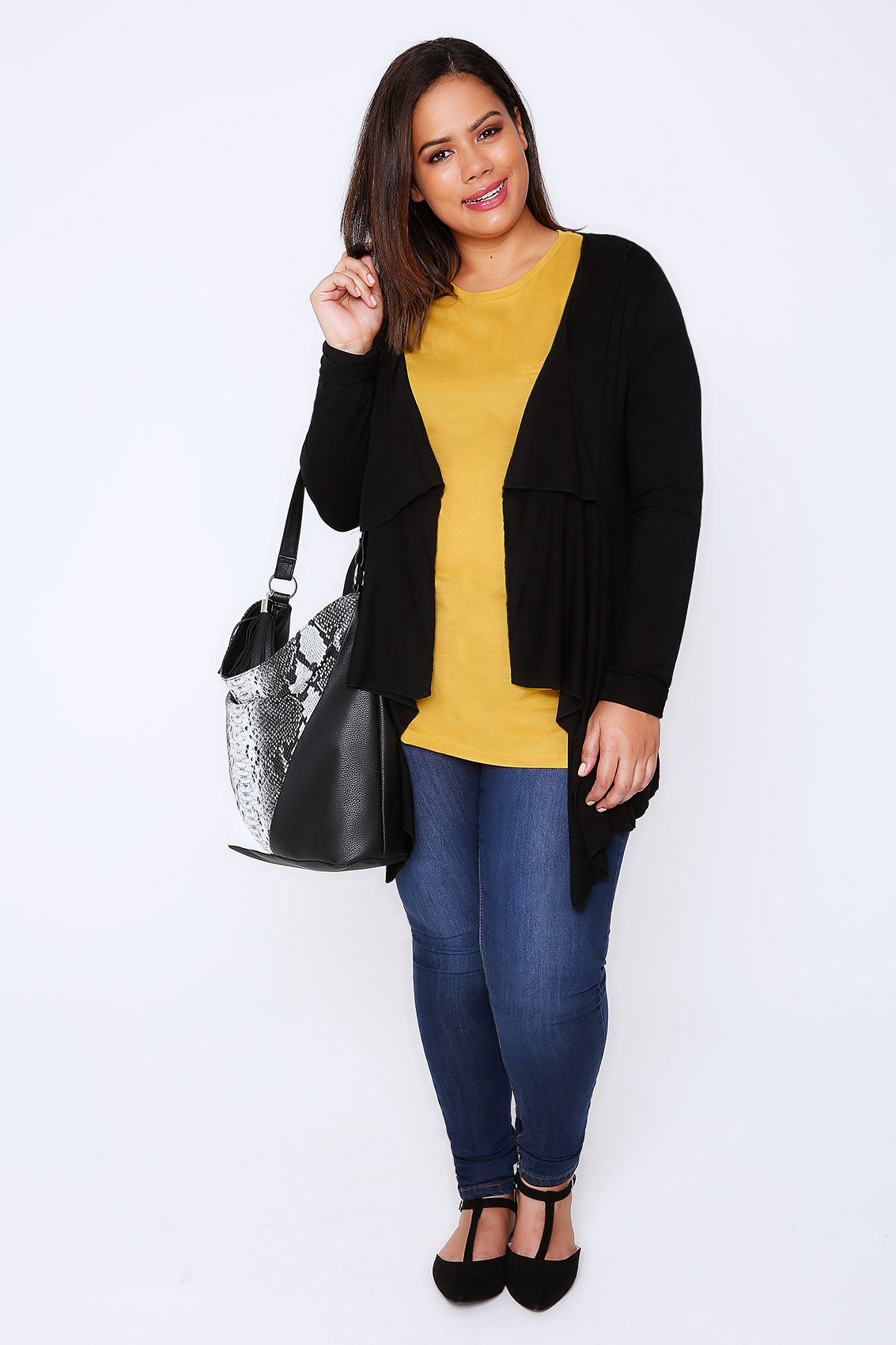Black Jersey Waterfall Cardigan plus size: 16,18,20,22,24,26,28,30 ...