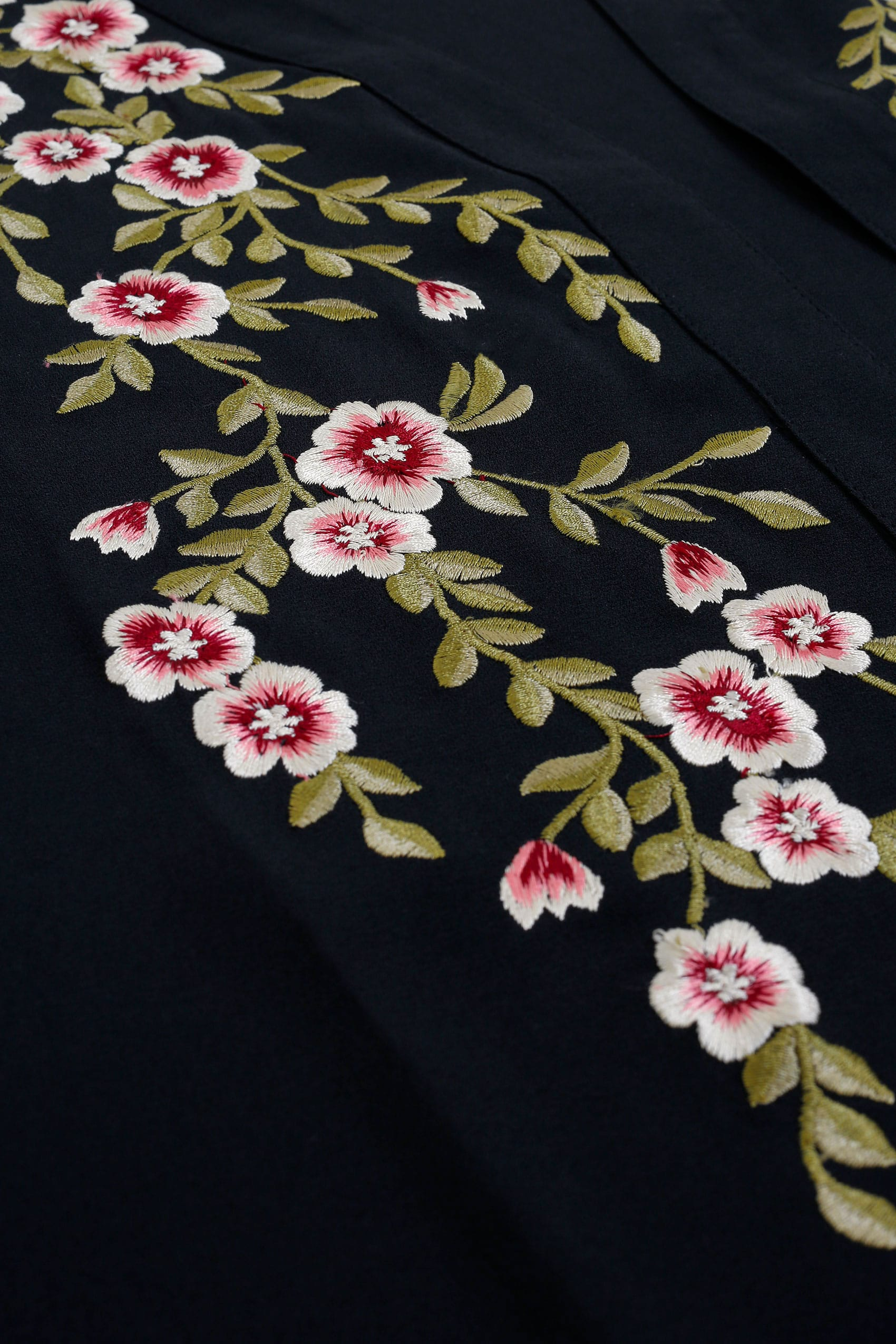 Black kimono with floral embroidery plus size to