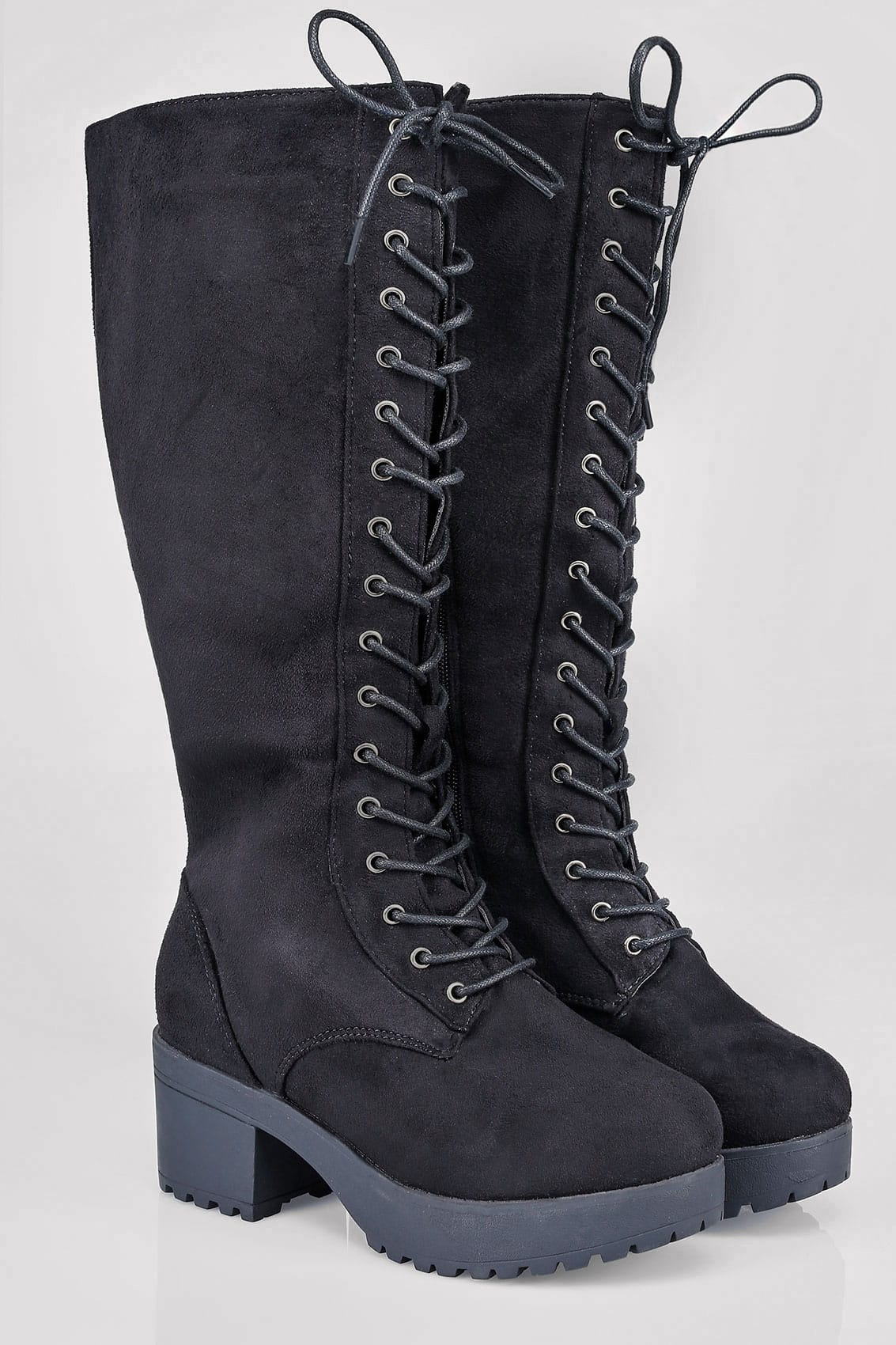 Black Knee High Lace Up Heeled Boot In Eee Fit 4eee 5eee
