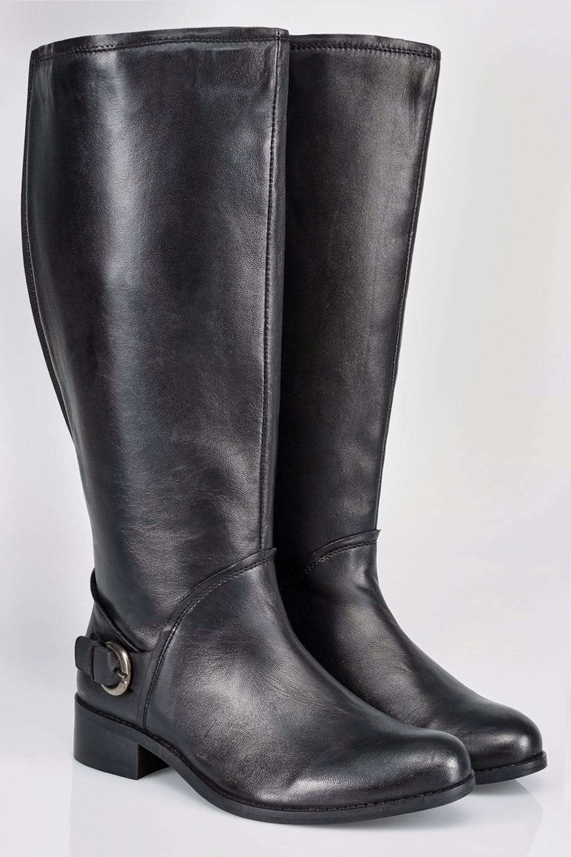 Black Leather Knee High Riding Boots With Buckle Detail In