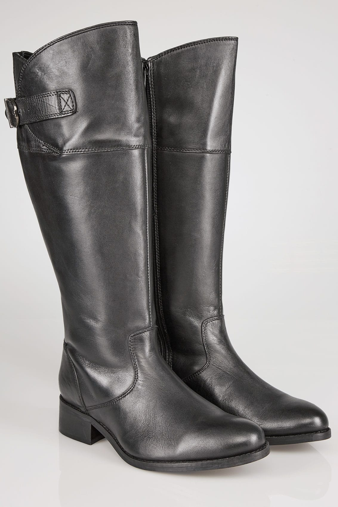Black Knee High Leather Riding Boots With Elasticated