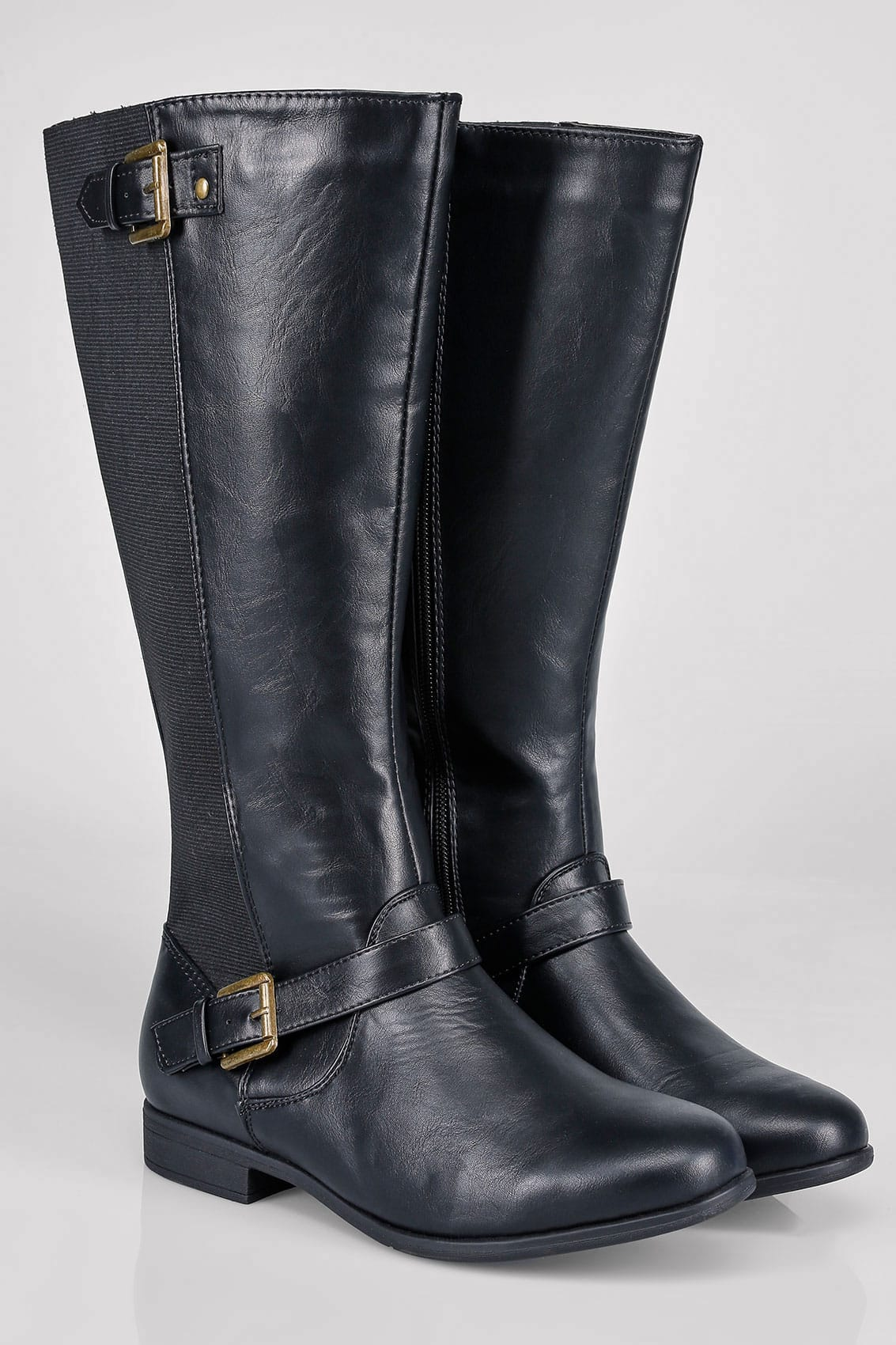 Black Knee High Riding Boots With Buckle Detail With Xl