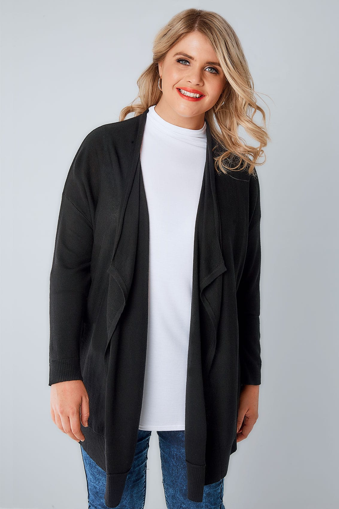 Black Knitted Waterfall Cardigan, Plus size 16 to 36
