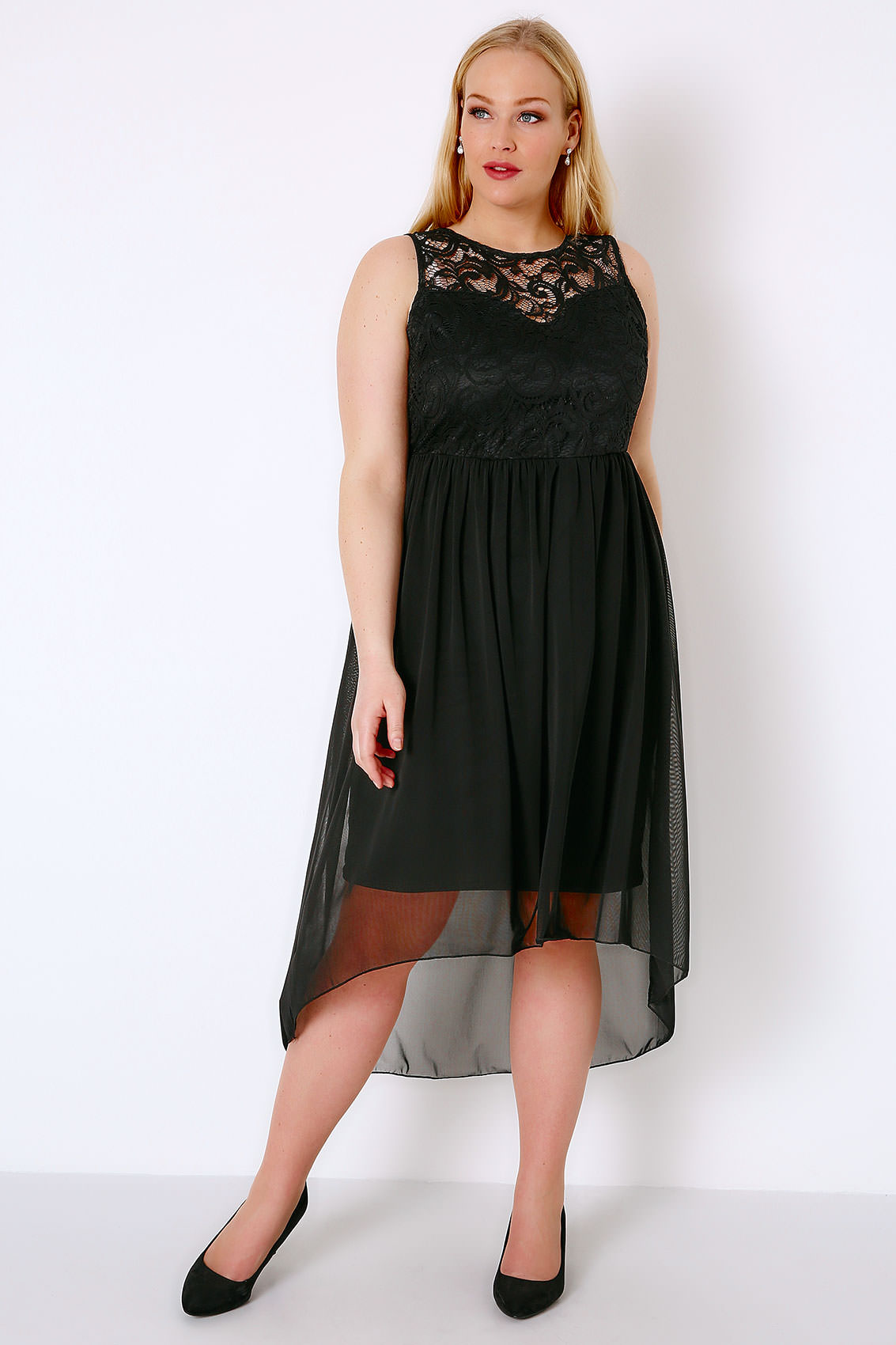 black lace mesh sleeveless dress with dipped hem plus size 16 to 32. Black Bedroom Furniture Sets. Home Design Ideas