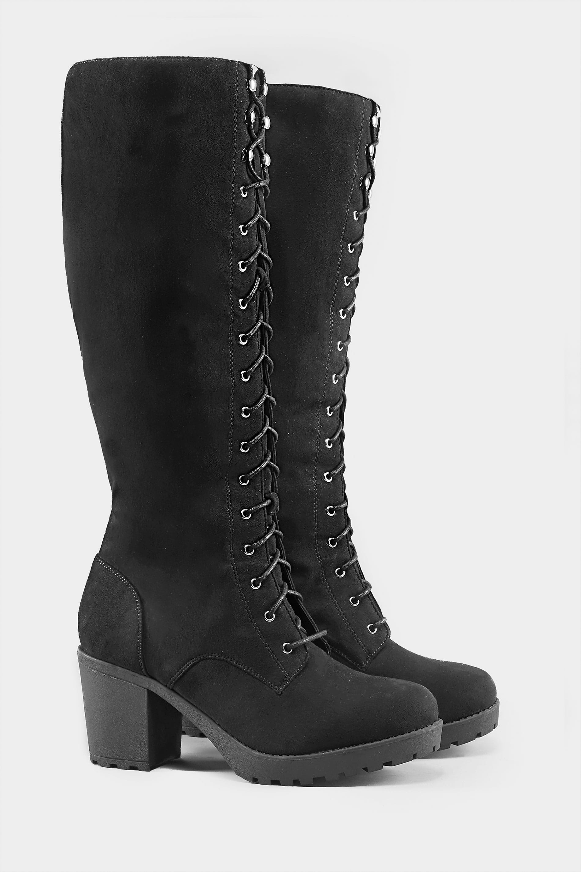 1695b20fae7 Black Lace Up Heeled Knee High Boots In EEE Fit