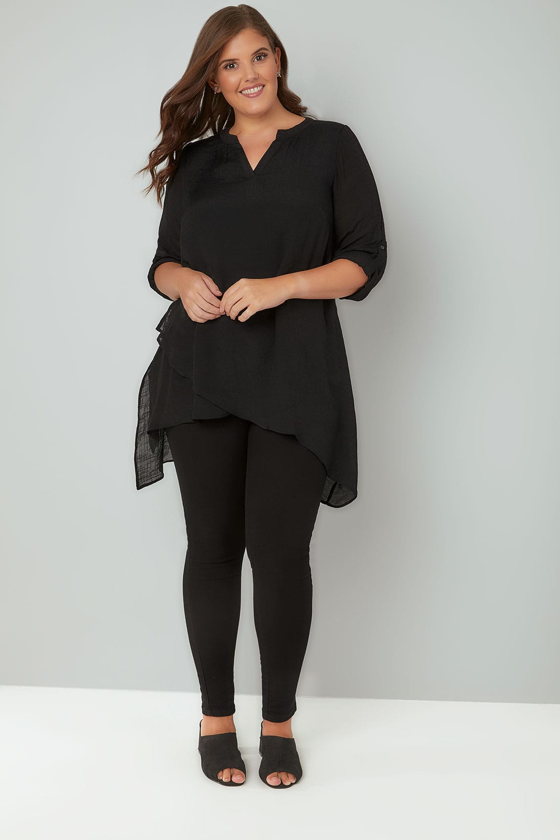 Black Layered Blouse With Notch Neck & Dipped Hem, Plus ...