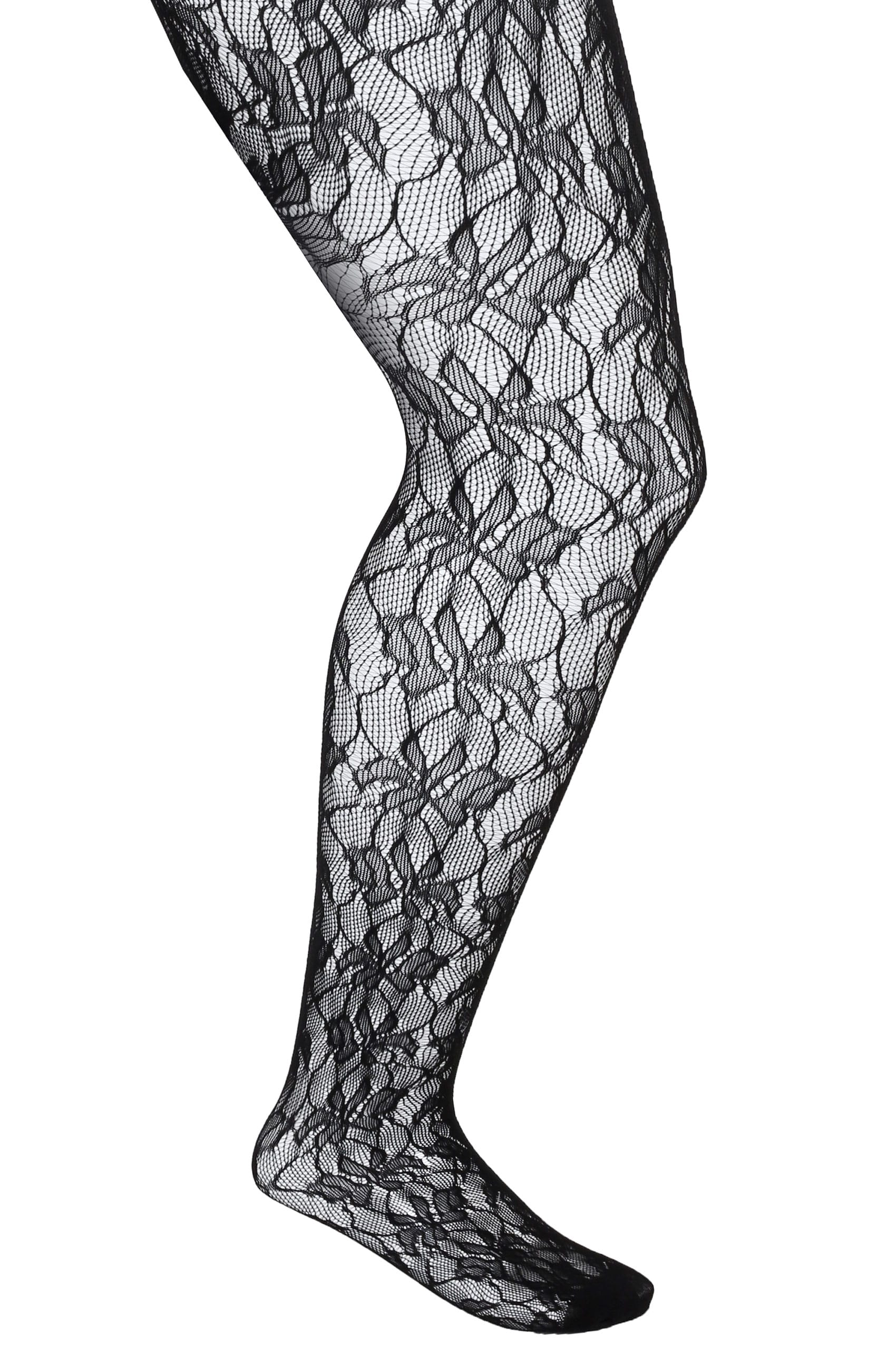 Black Leaf Patterned Lace Tights, Plus size 16 to 36