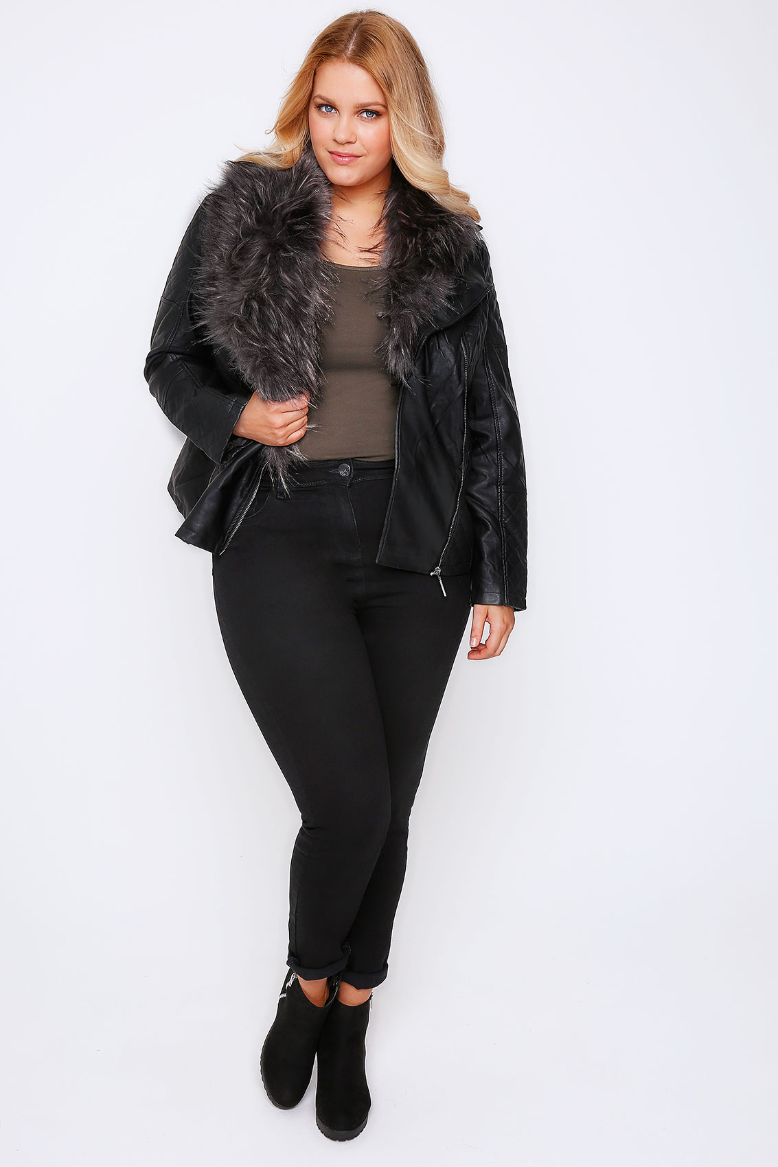 Faux leather jackets for plus size women