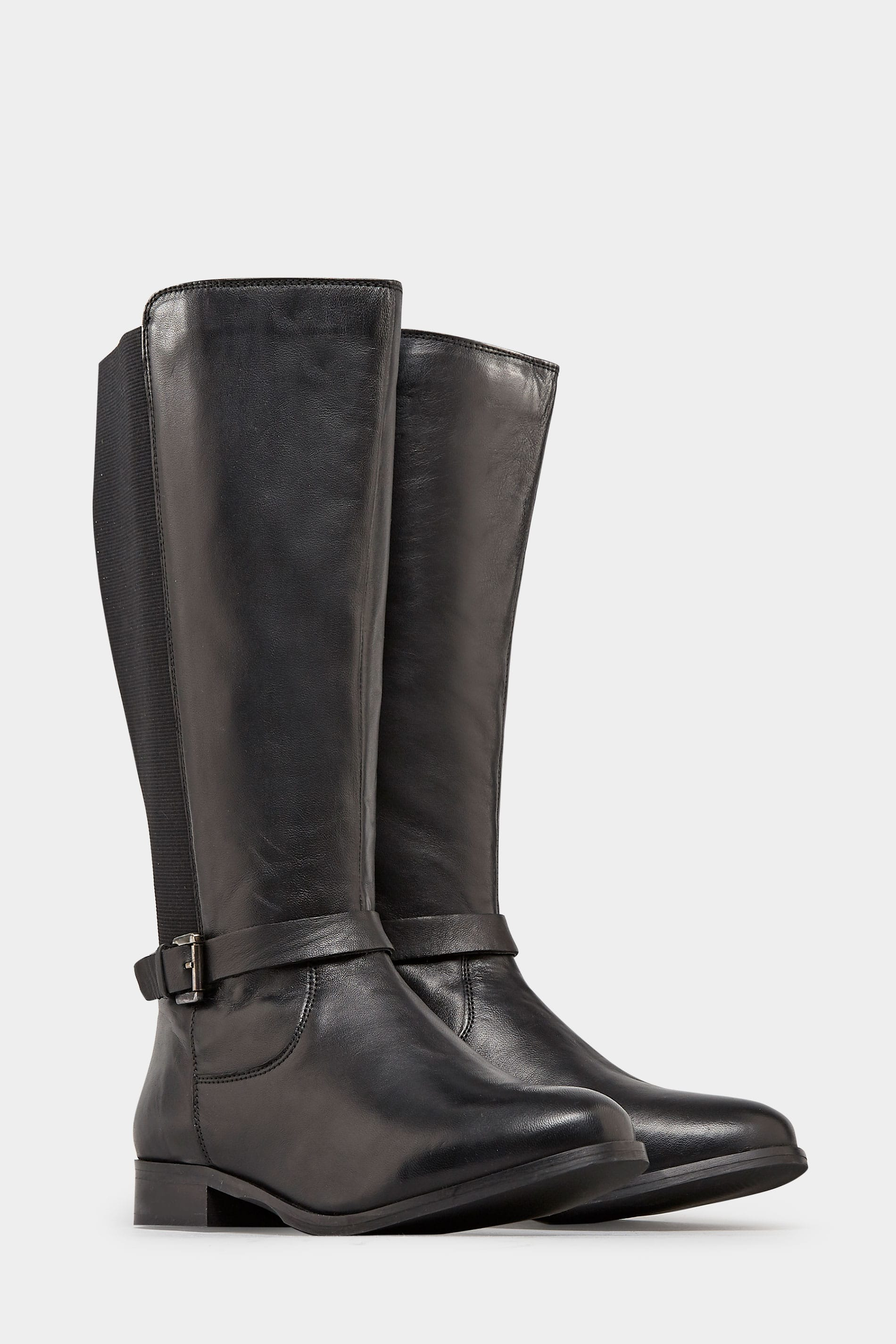 934ce5cdb6d58 Black Leather Riding Boots With Stretch Panels In EEE Fit