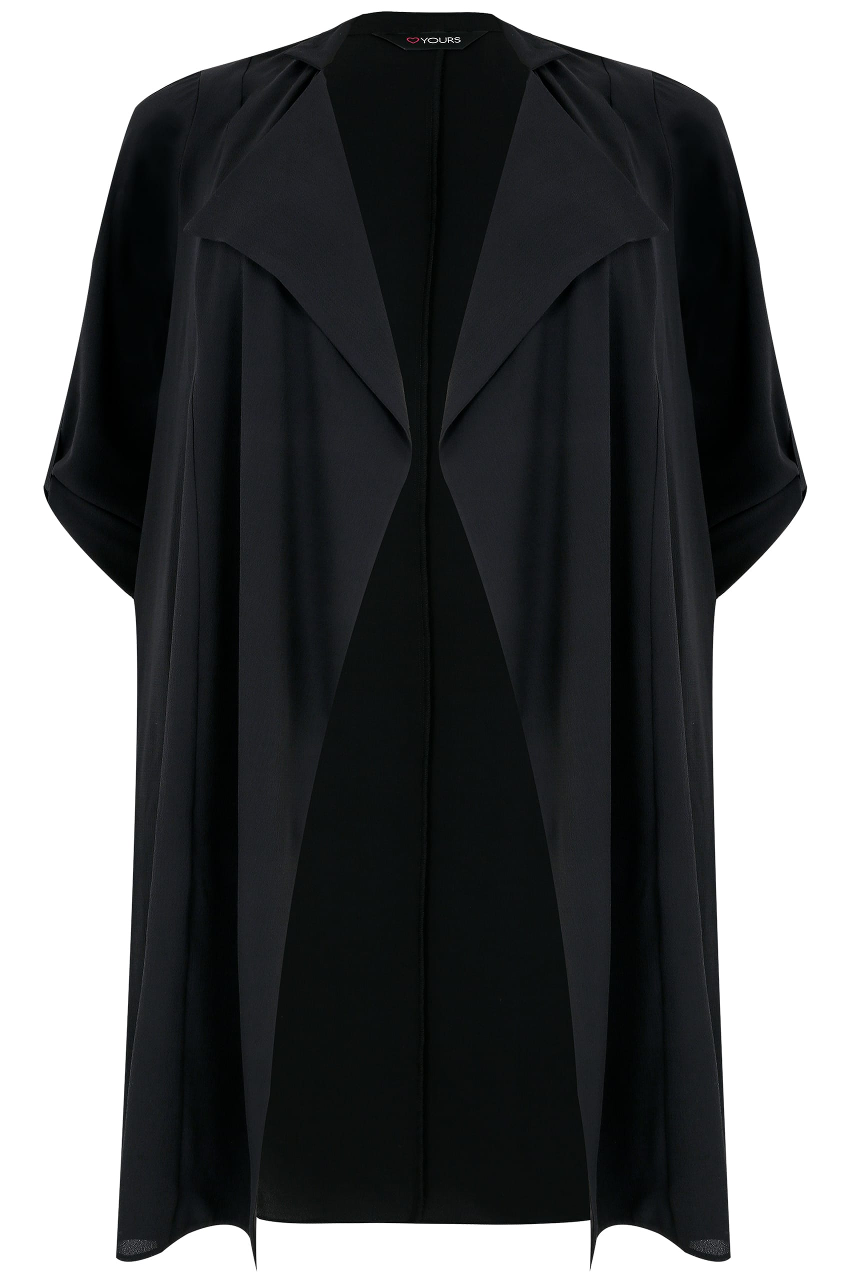 Black Lightweight Duster Jacket With Waterfall Front, Plus ...