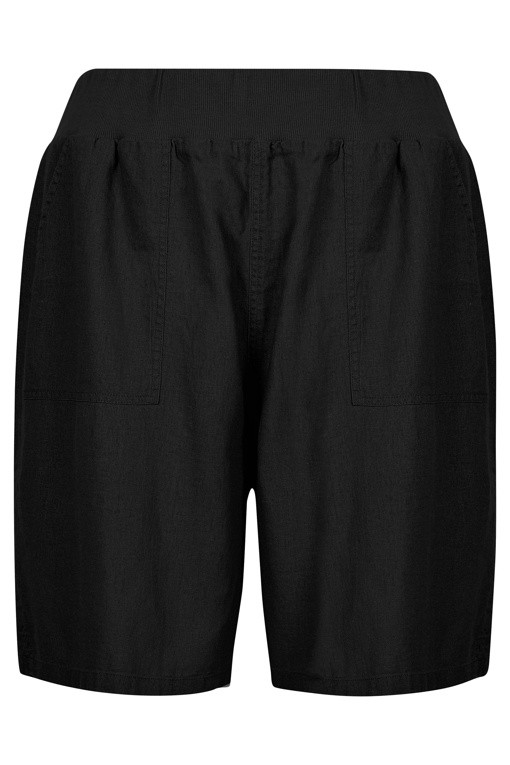 Black Linen Mix Pull On Shorts With Pockets, plus size 16 ...
