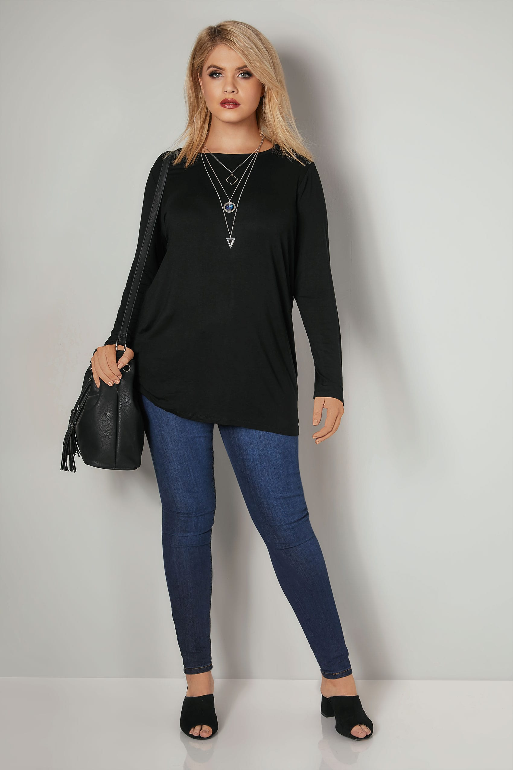 1265d5bab Black Long Sleeve Soft Touch Jersey Top, Plus size 16 to 36
