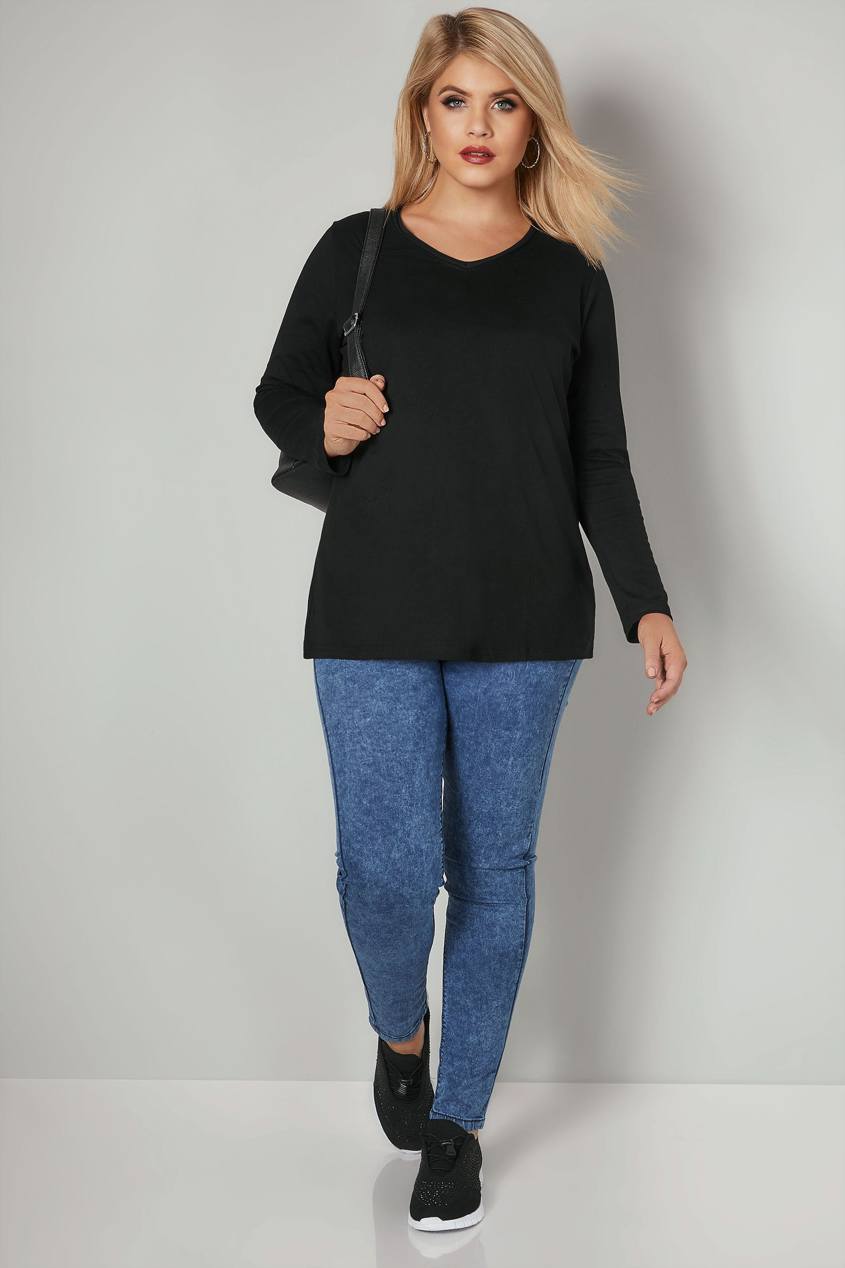 Black Long Sleeved V-Neck Jersey Top, Plus size 16 to 36