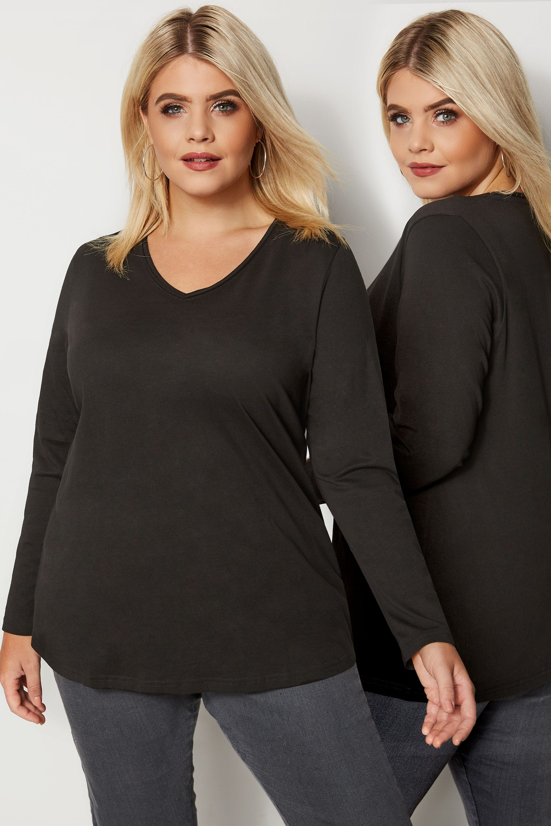 Rooms: Black Long Sleeved V-Neck Jersey Top, Plus Size 16 To 36