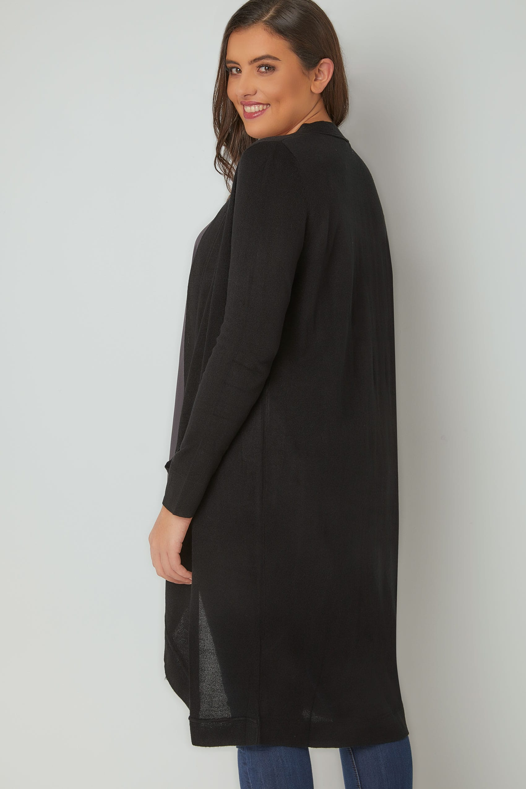 Black Longline Cardigan With Pockets, Plus size 16 to 36