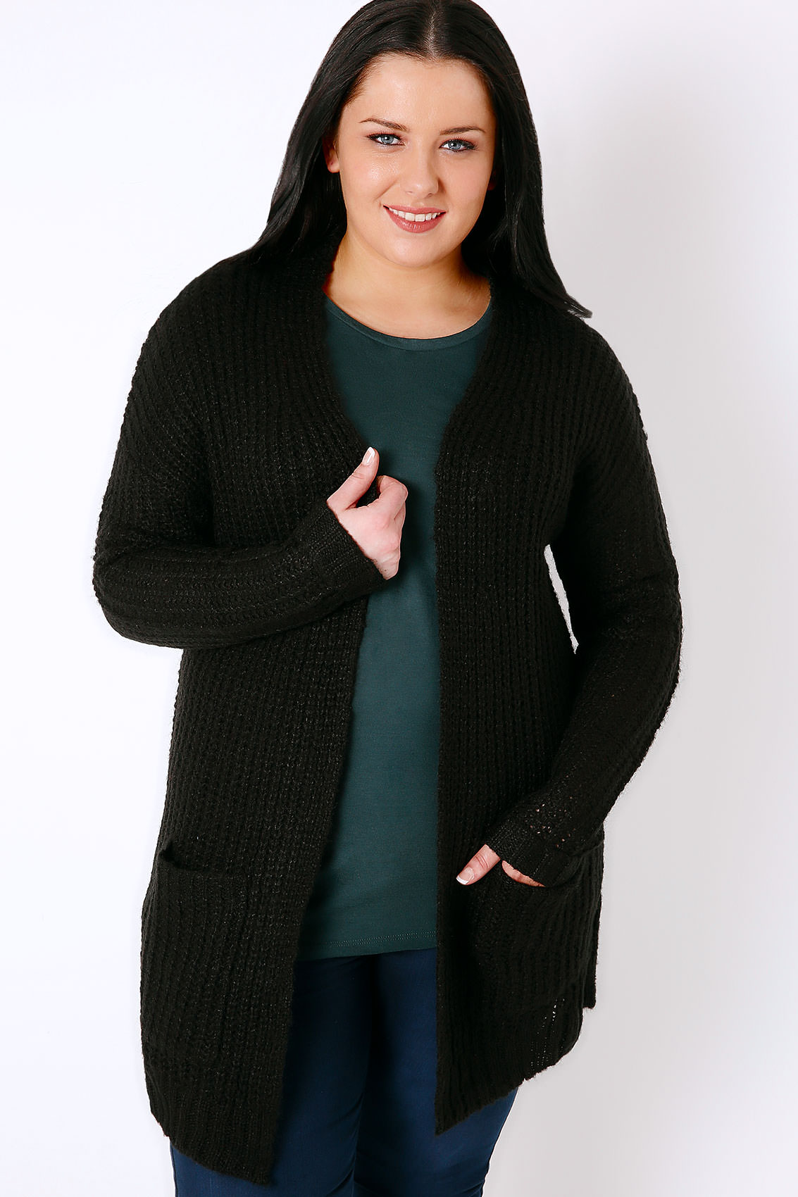 Black Longline Chunky Knit Cardigan With Pockets, Plus Size 16 to 32