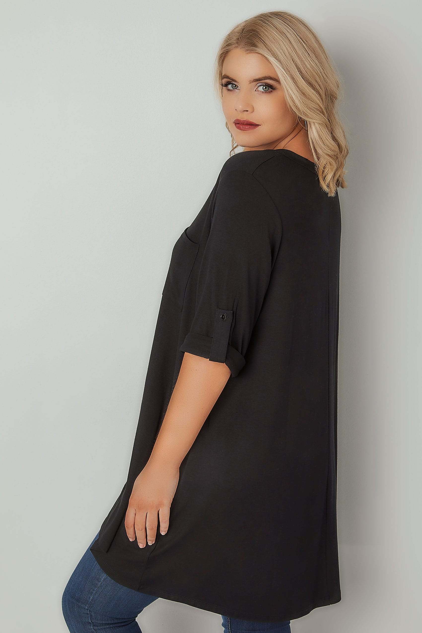 black longline top with zip front  plus size 16 to 36
