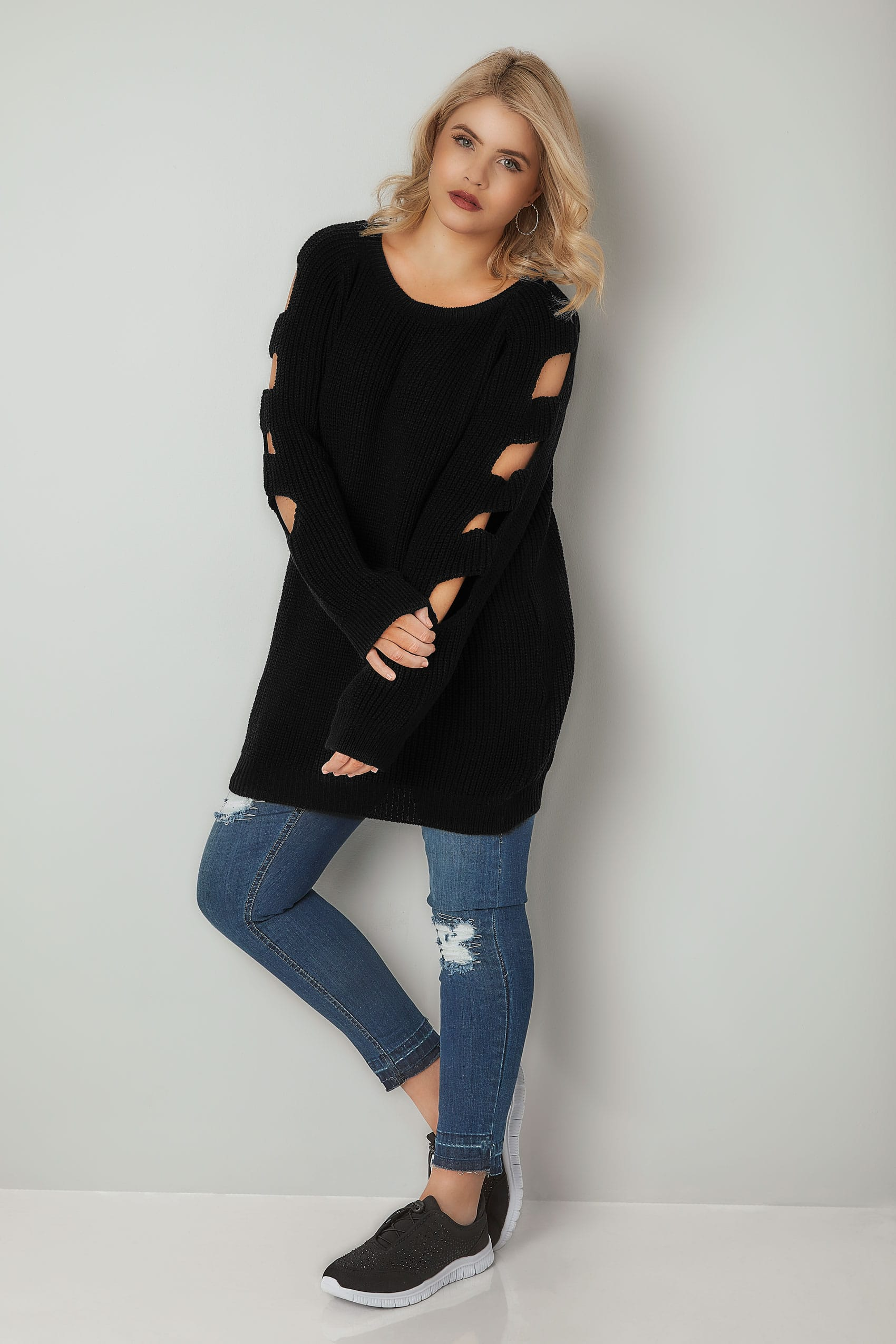 Black Longline Knitted Jumper With Cut Out Sleeves Plus