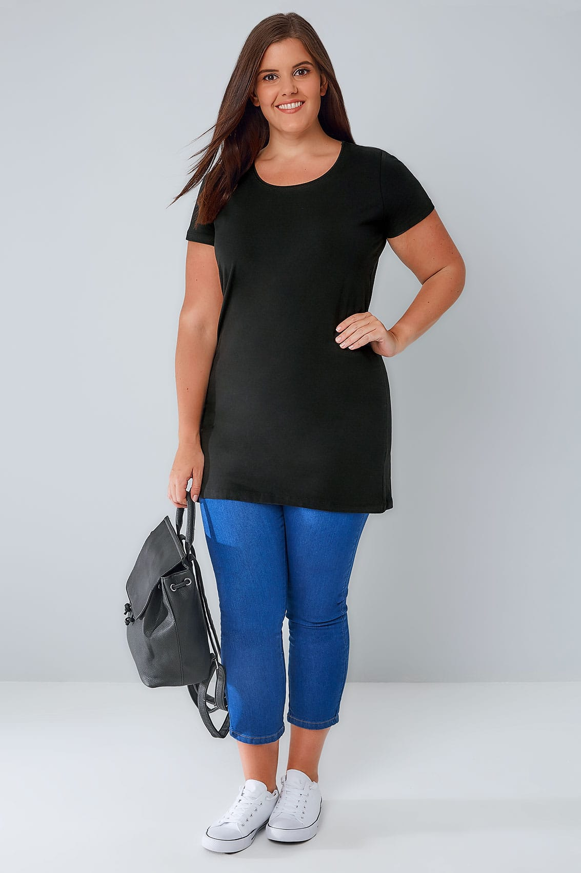 Black Longline T Shirt With Scooped Neck Plus Size 16 To 36