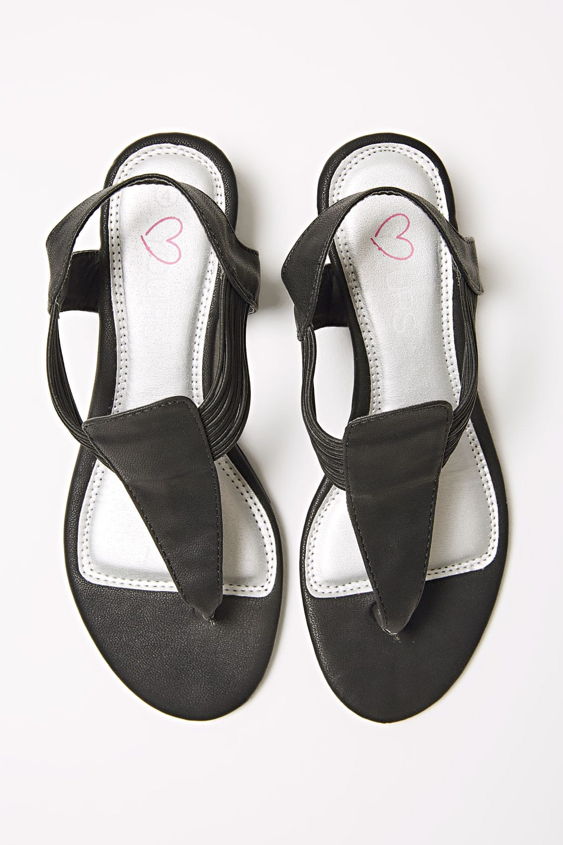 Black Toe Post Wedge Sandal In Eee Fit