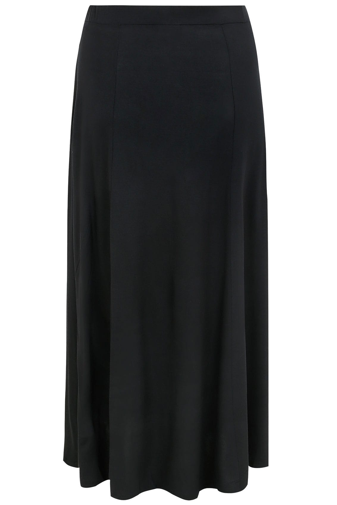 915d9299d94338 Black Maxi Jersey Skirt With Pockets, Plus size 16 to 36