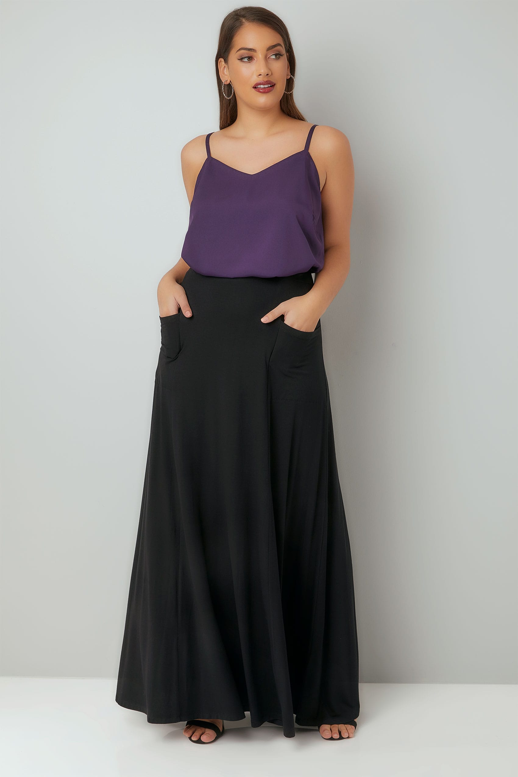 Black Maxi Jersey Skirt With Pockets, Plus size 16 to 36