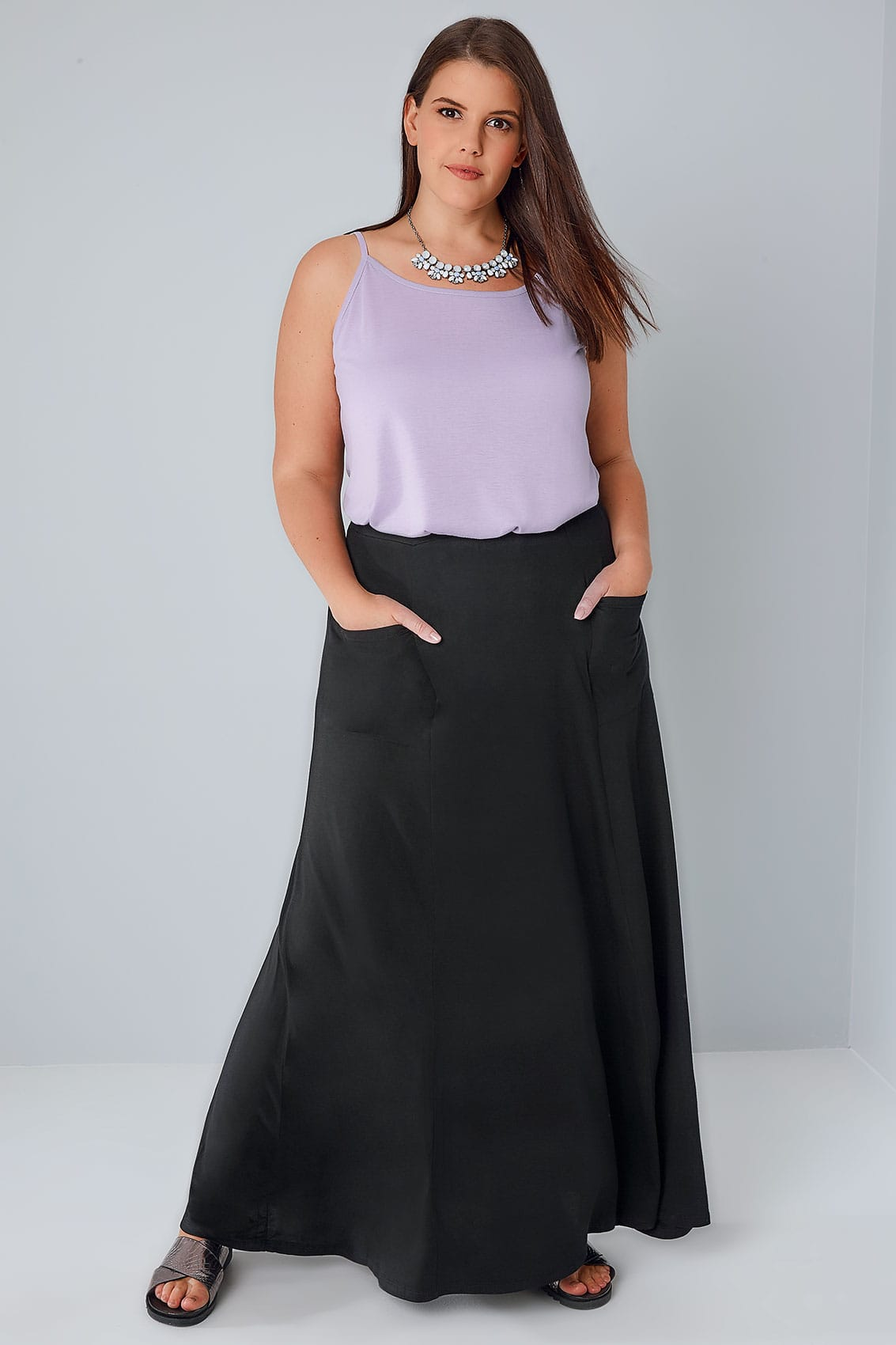 Black Maxi Skirt With Pockets, Plus size 16 to 36