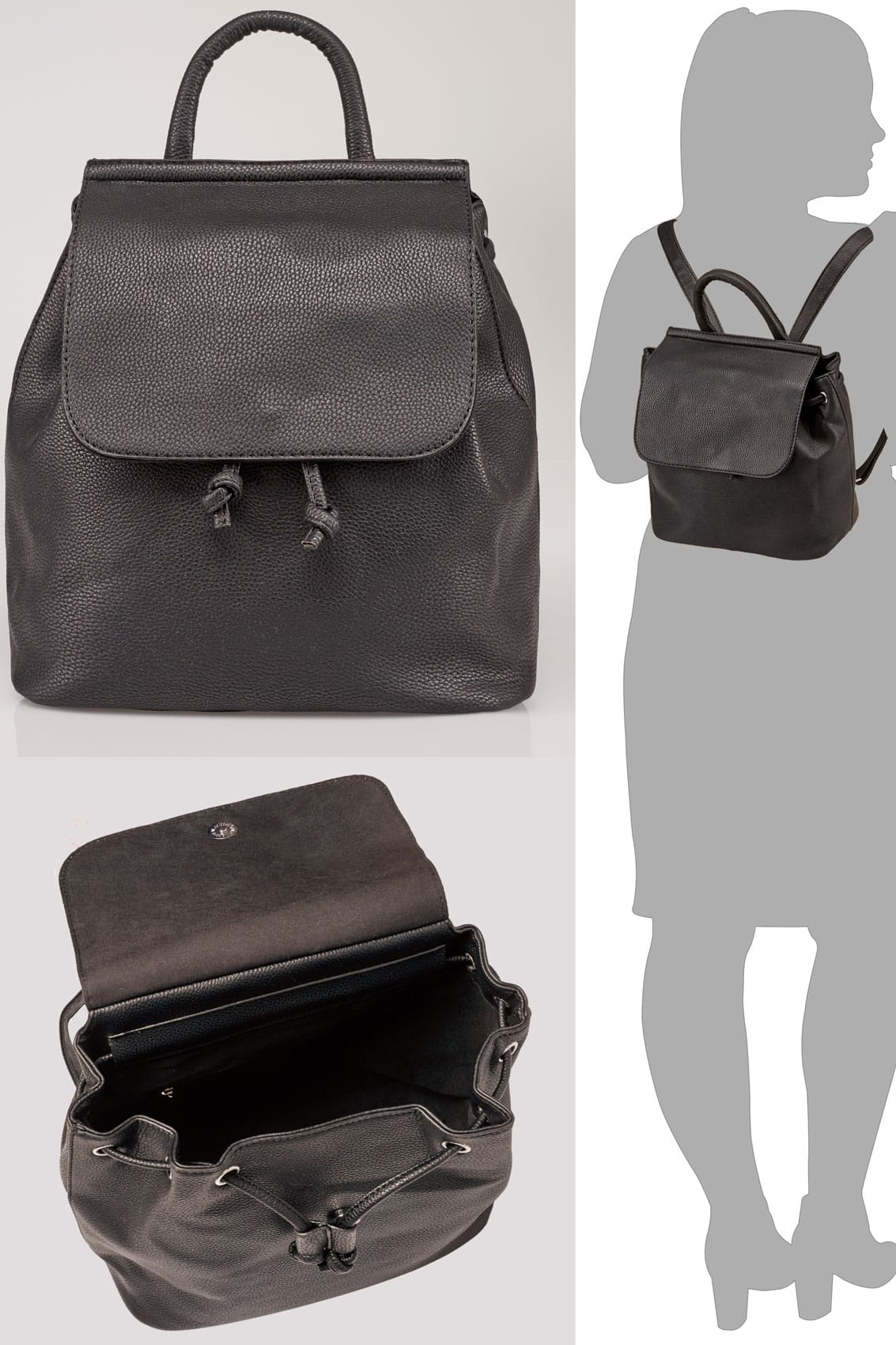 Black Medium Flap Backpack-1285