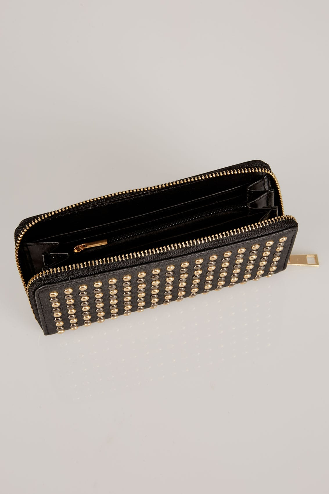 Black metallic studded purse with zip close for Buy here pay later