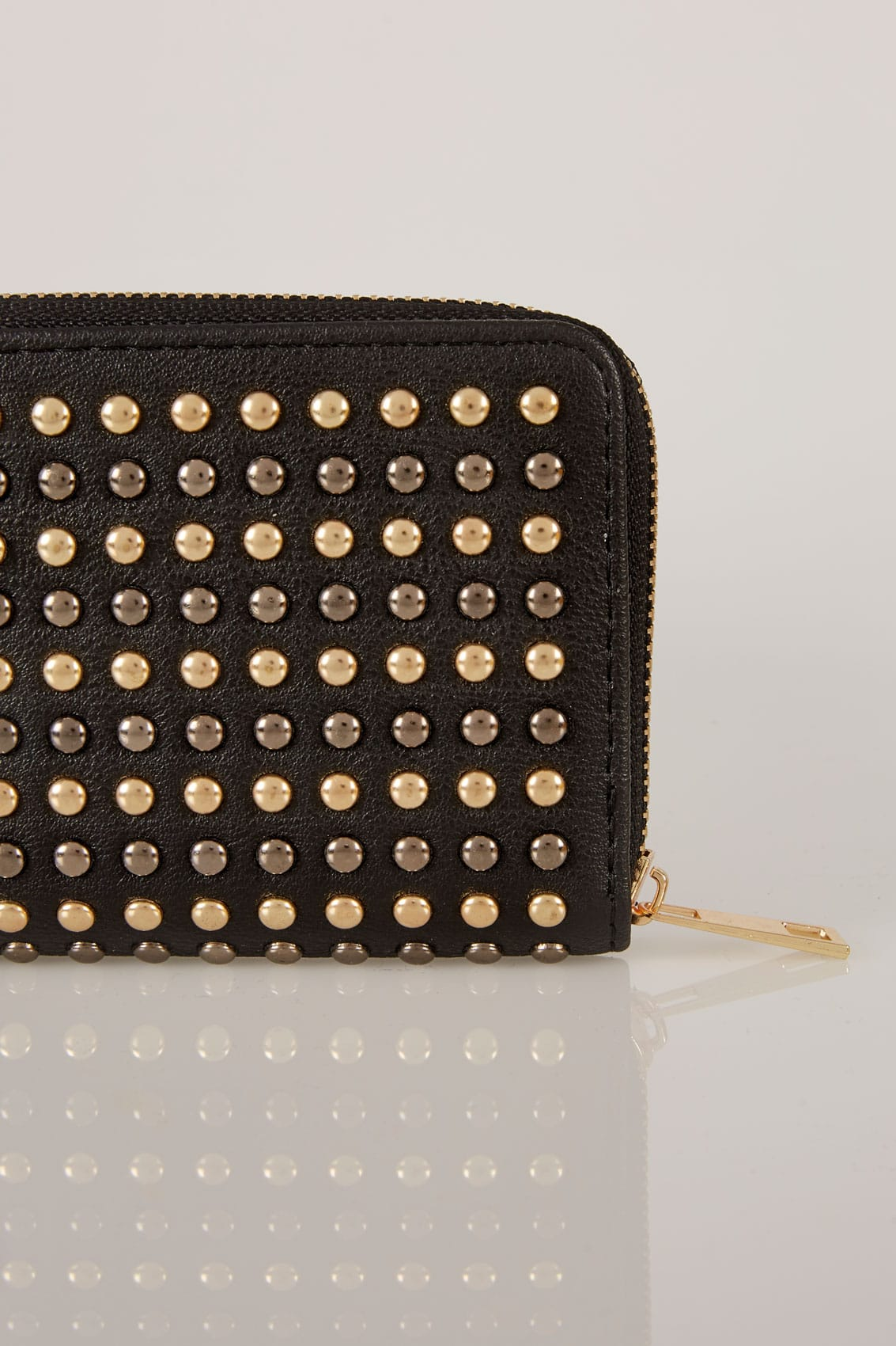 Black Metallic Studded Purse With Zip Close