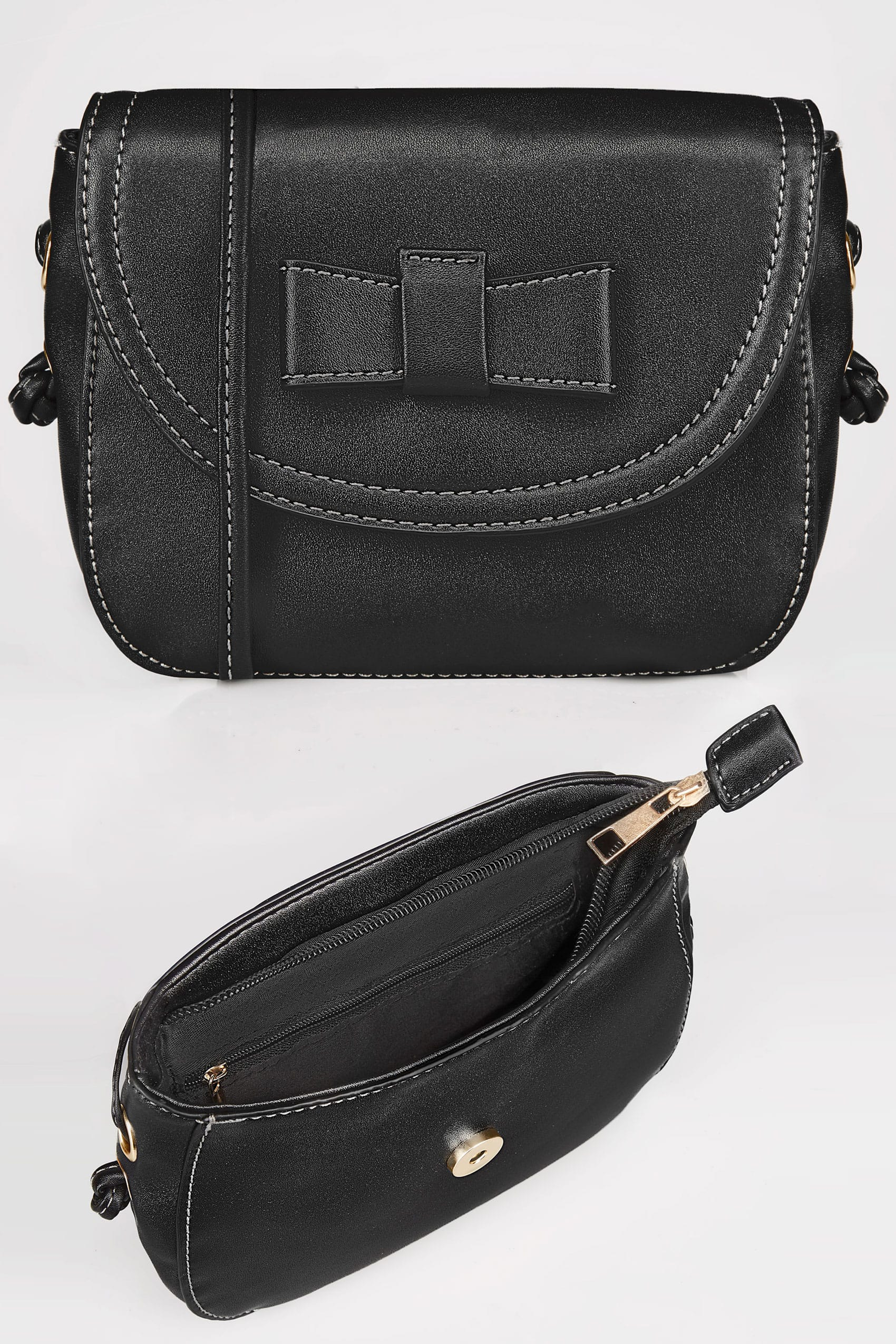 black mini applique bow cross body bag with extended strap. Black Bedroom Furniture Sets. Home Design Ideas