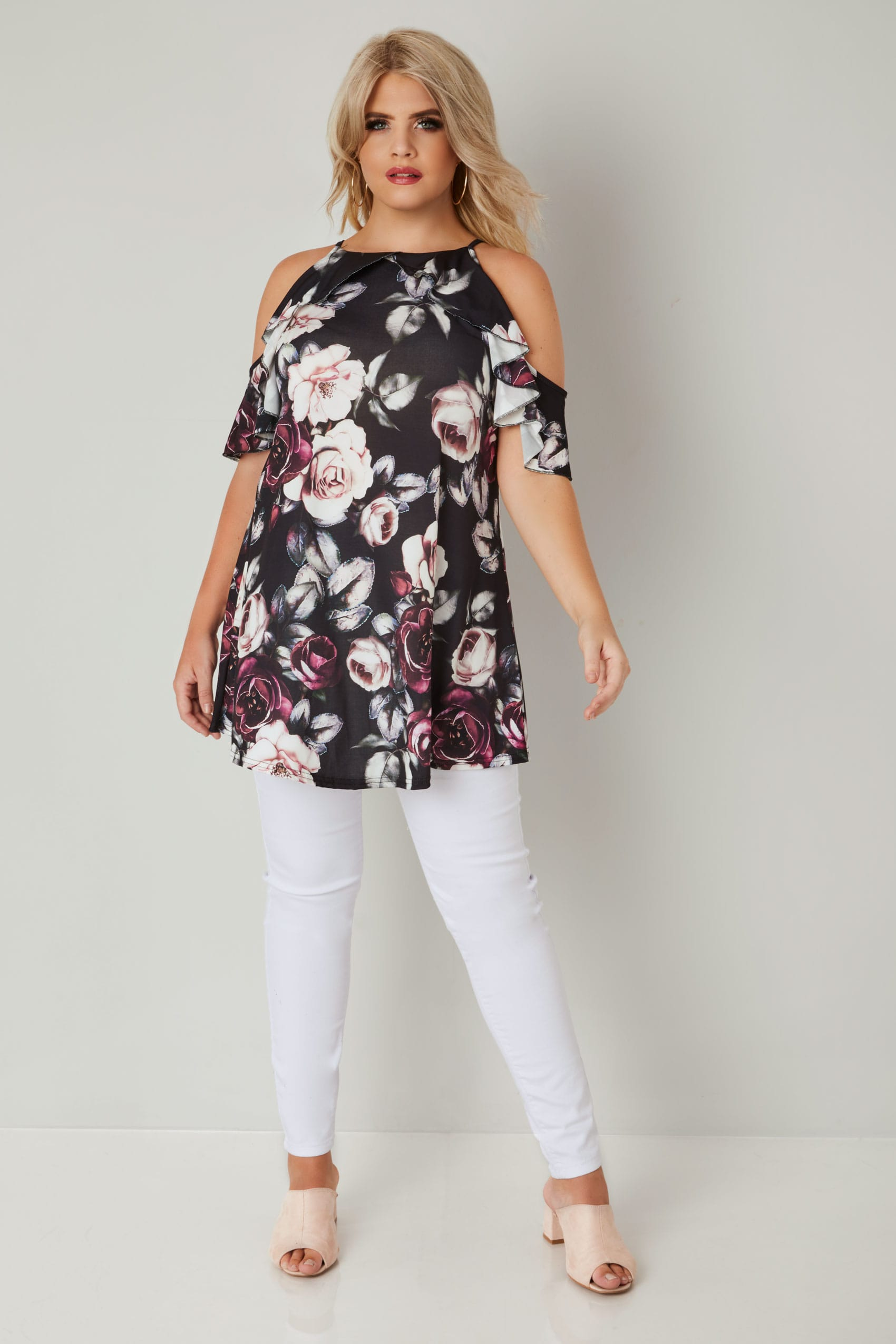 eb3999ddf9fd3 Black   Multi Floral Print Frill Sleeve Longline Cold Shoulder Top ...