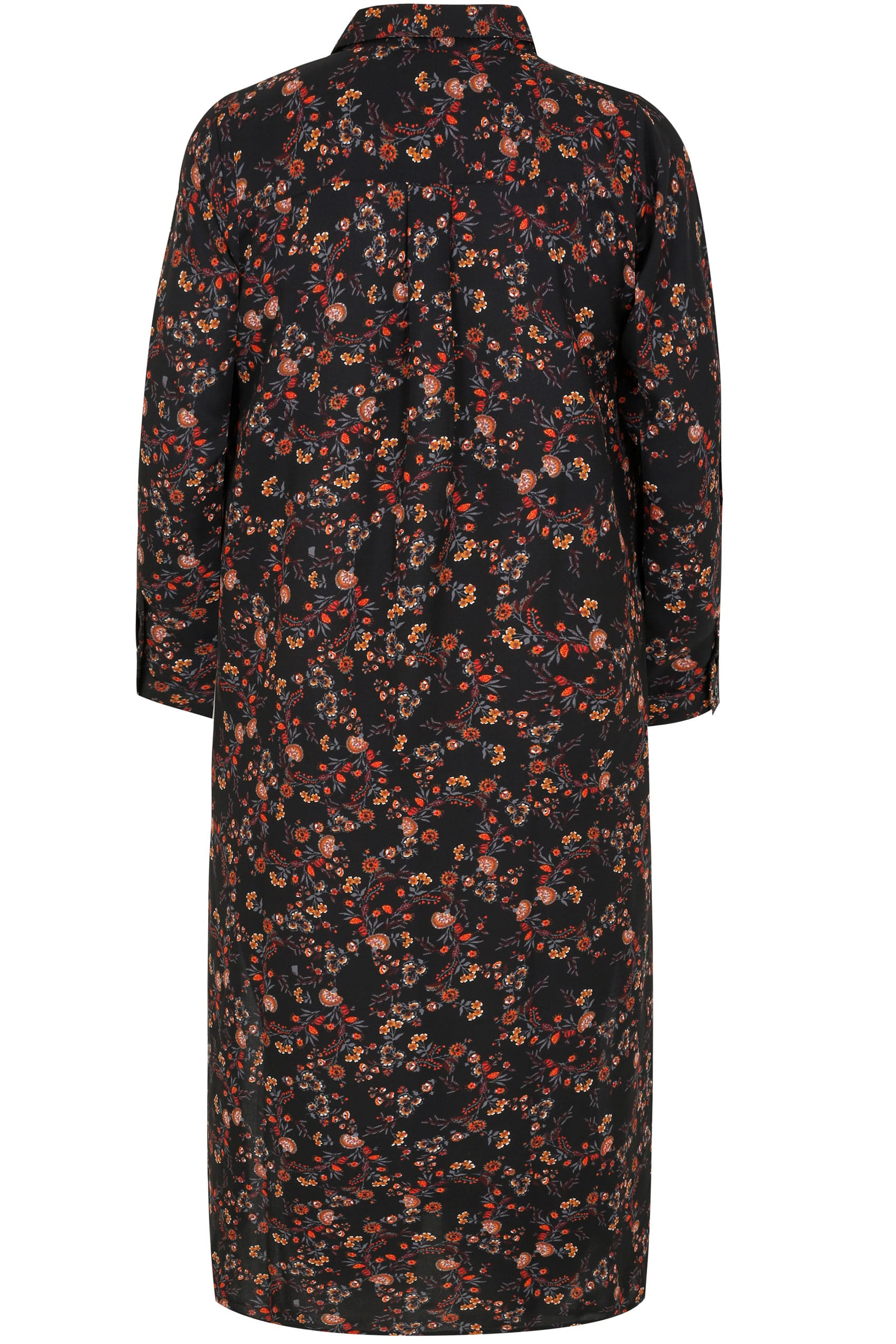 Black multi floral print maxi shirt dress plus size 16 for Black floral print shirt