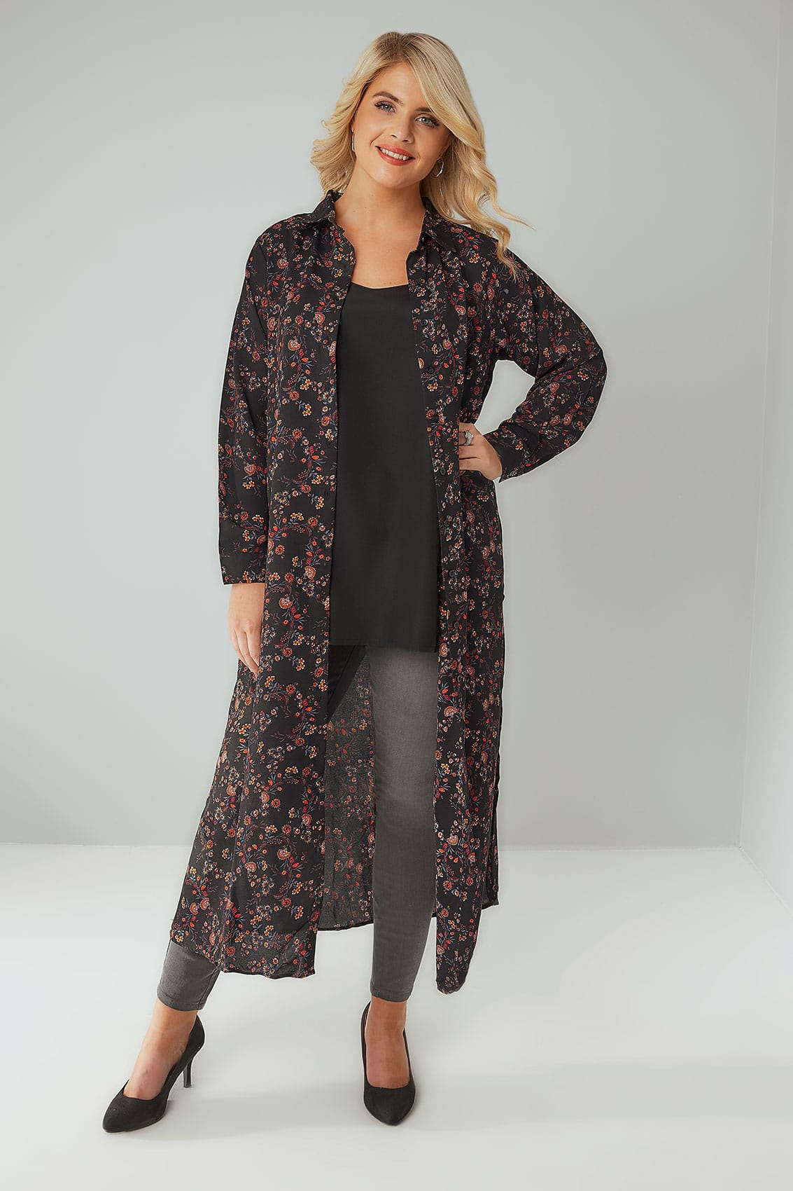 Black Multi Floral Print Maxi Shirt Dress Plus Size 16