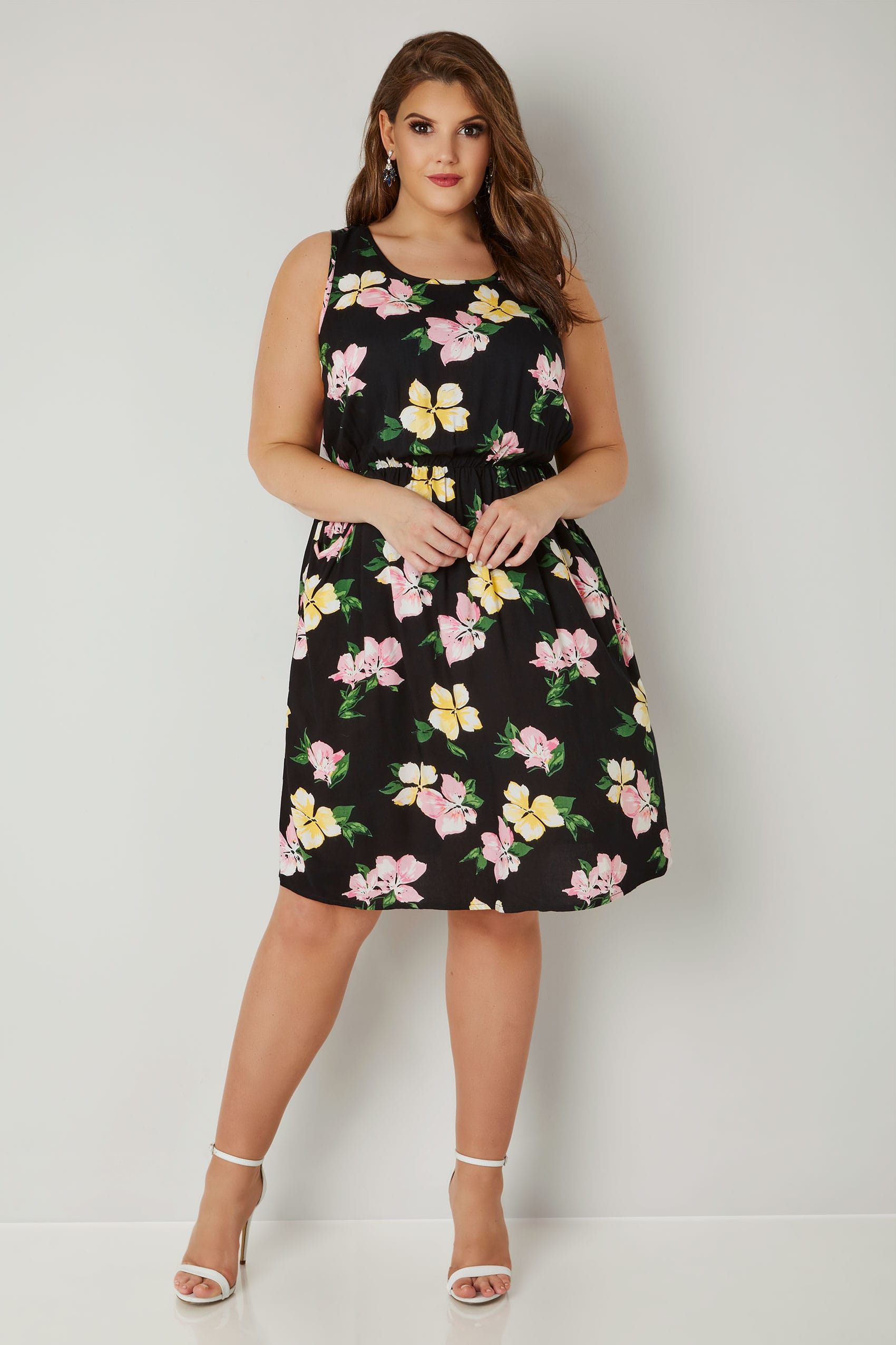 Black multi floral print pocket dress with elasticated for Sites like touch of modern
