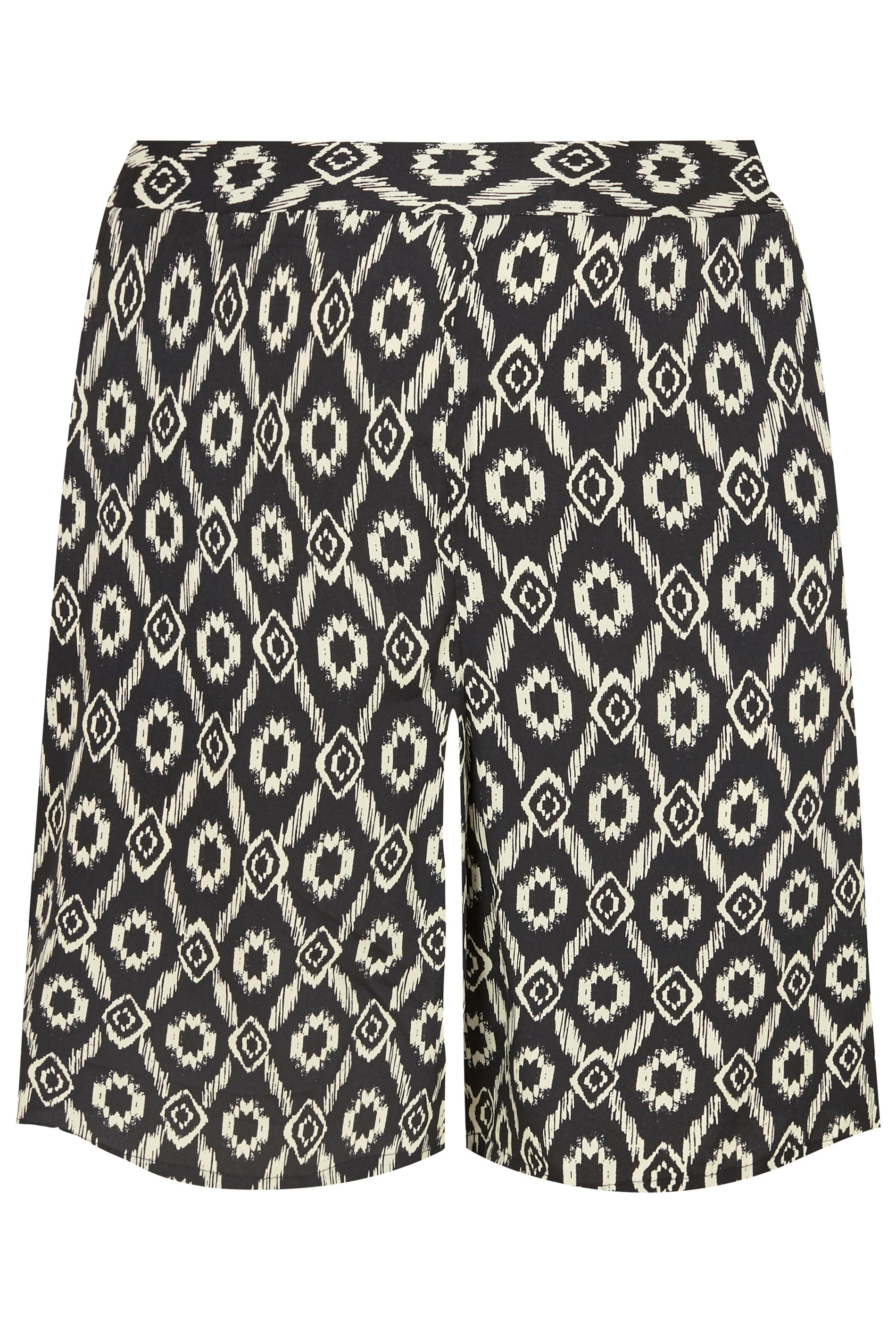 chiffon shorts mit ethnoprint in schwarz beige in gro en gr en 44 bis 64. Black Bedroom Furniture Sets. Home Design Ideas